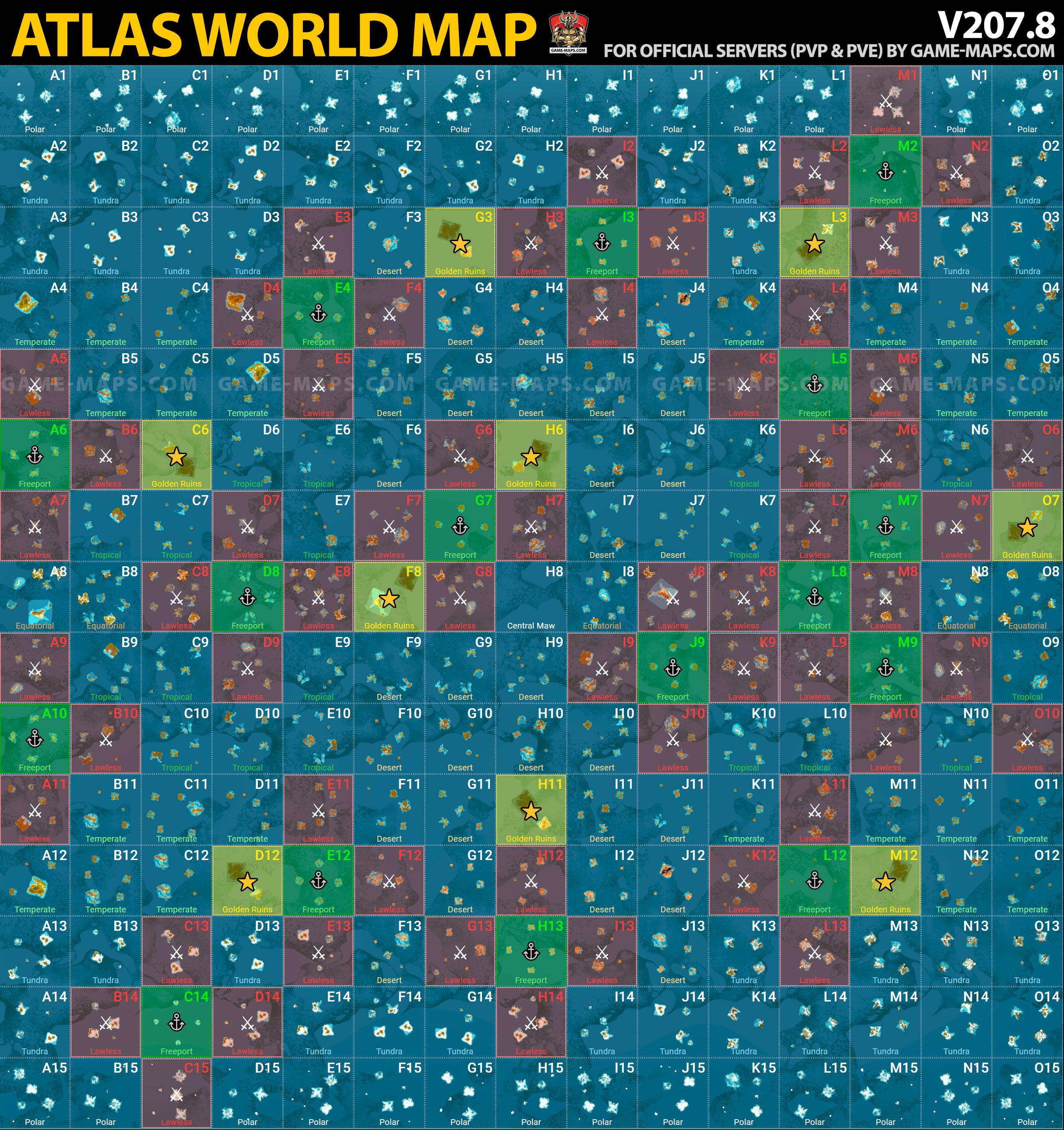 ATLAS MMO Game Map v.207.8 - Full World Map | game-maps.com