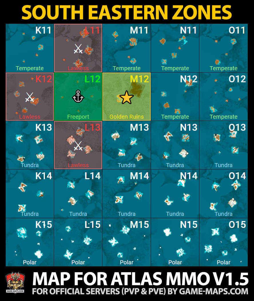 ATLAS MMO South Eastern Zones Game Map | game-maps com