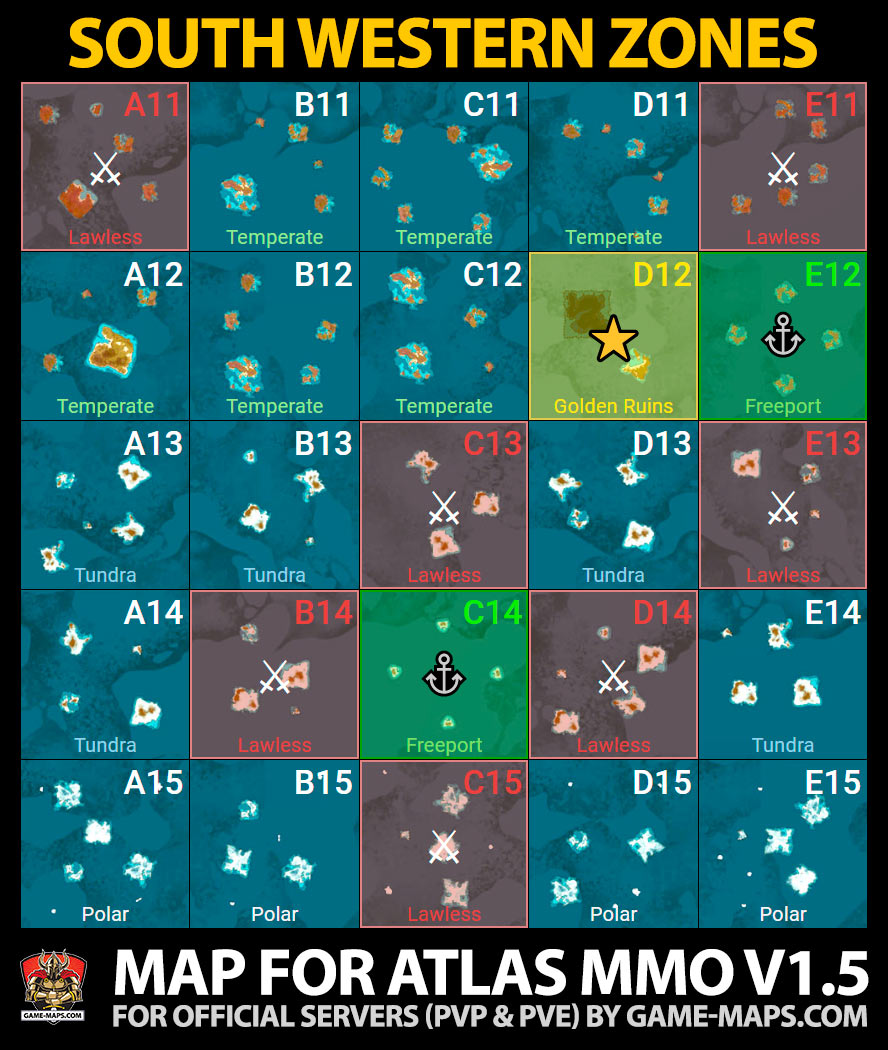 ATLAS MMO South Western Zones Game Map | game-maps com