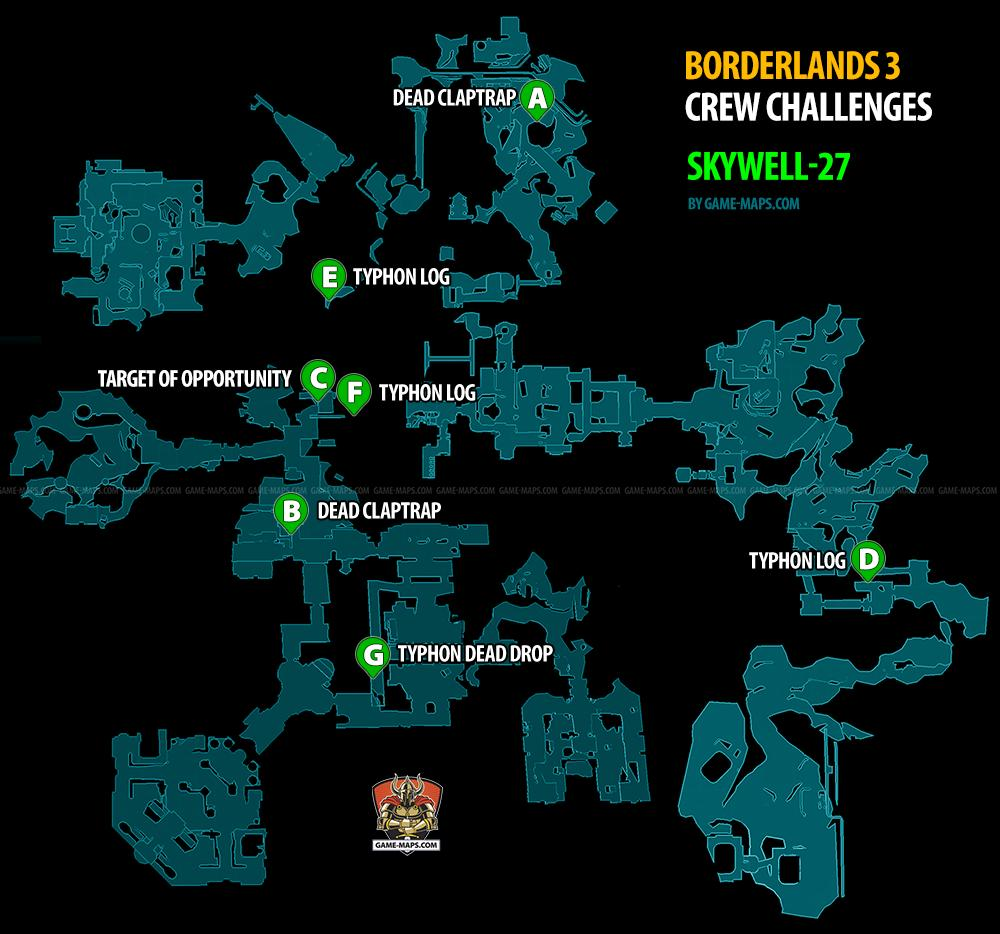 Skywell 27 Crew Challenges Locations Borderlands 3 Map