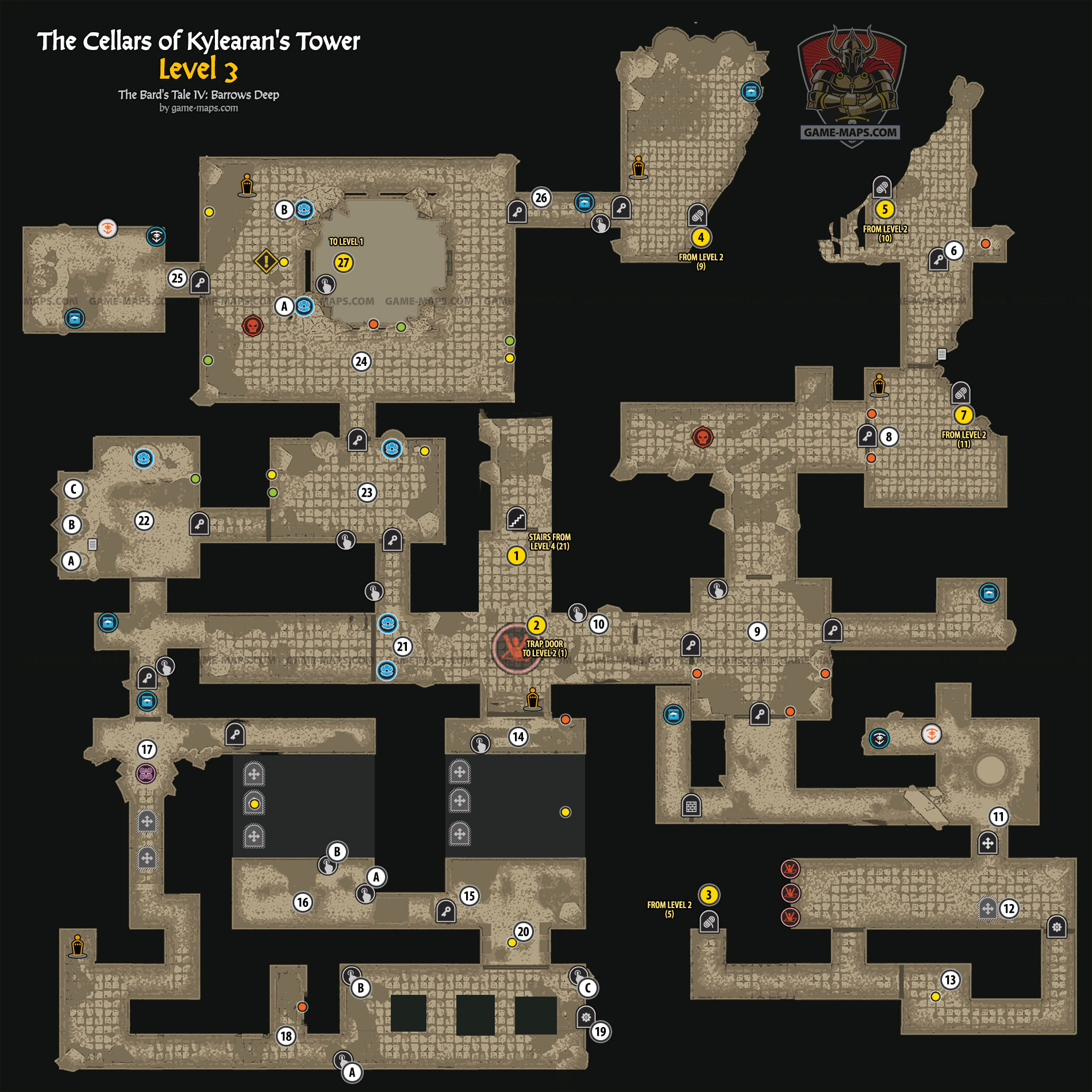 The Cellars of Kylearan's Tower Level 3 Map | game-maps com
