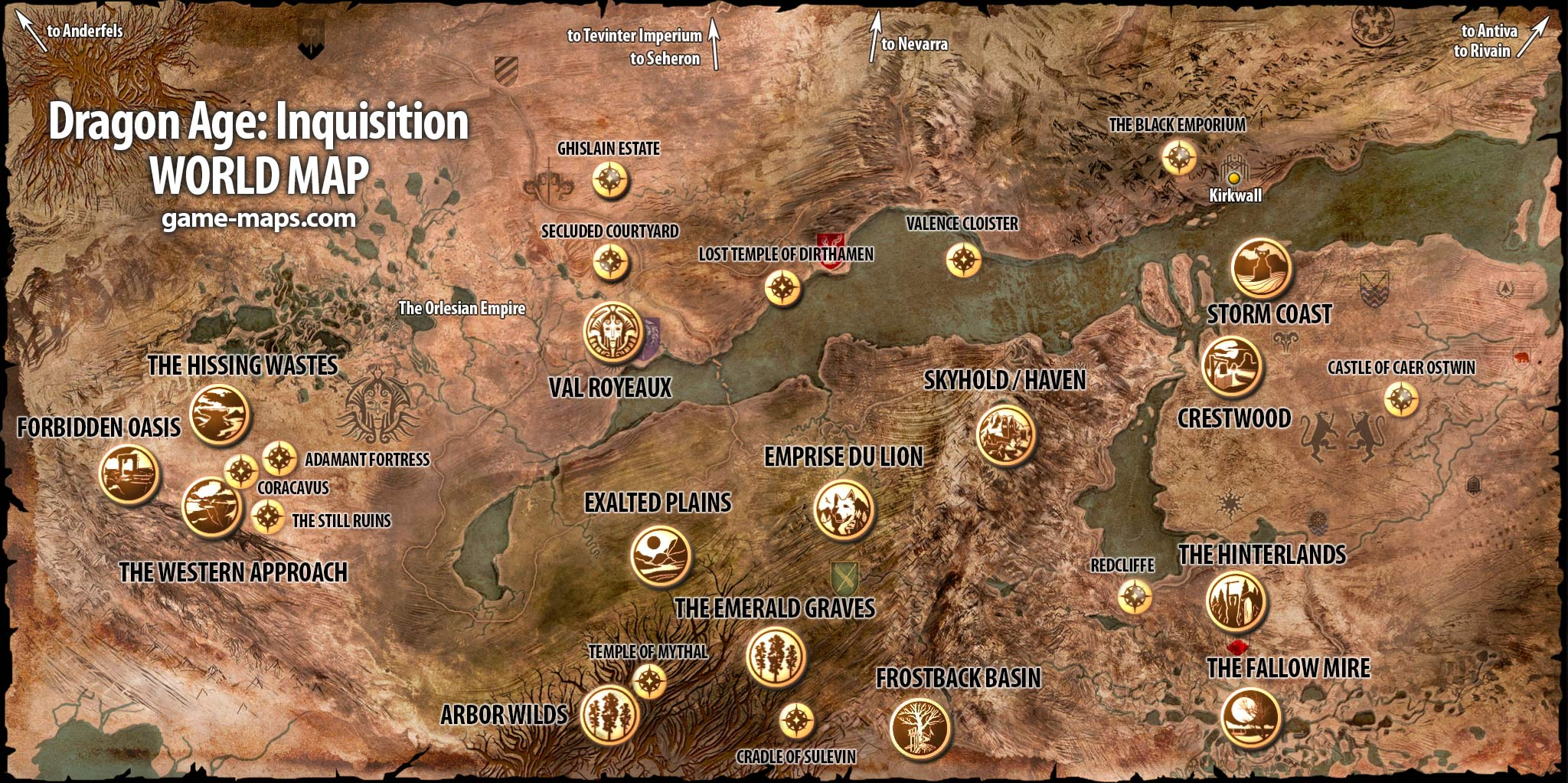 Dragon Age Inquisition World Map game