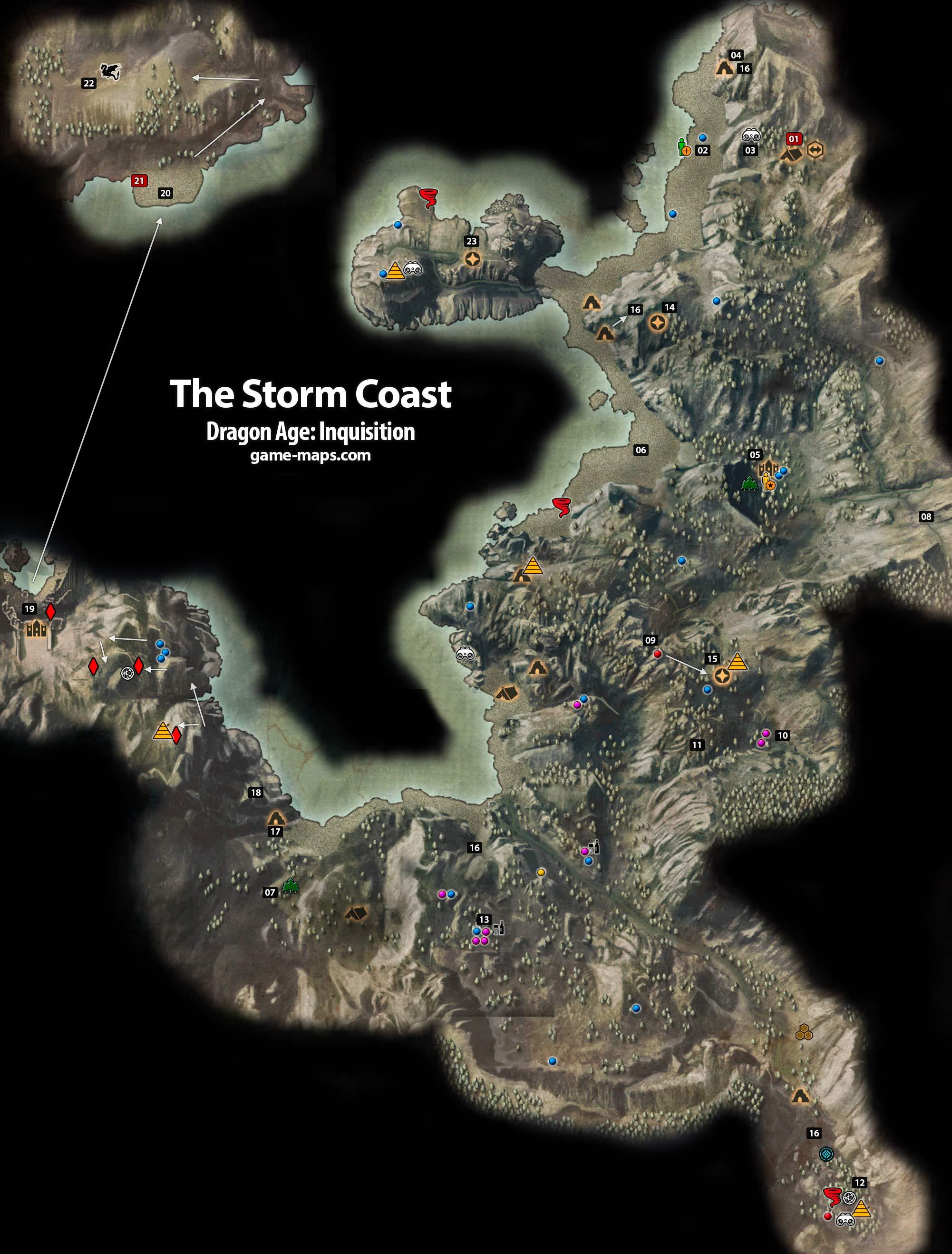 The Storm Coast - Dragon Age: Inquisition | game-maps.com on infamous second son map, infamous blast shards, infamous dead drops,