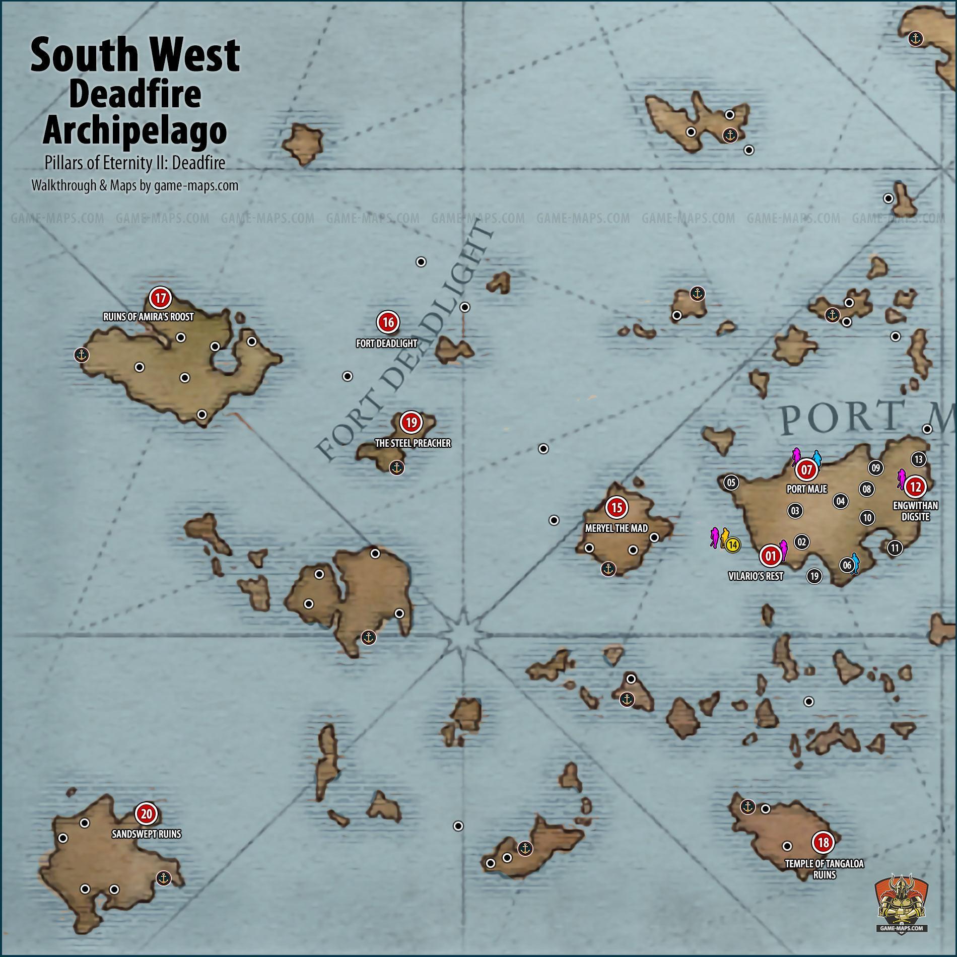 South Western Region of Deadfire Archipelago | game maps.com