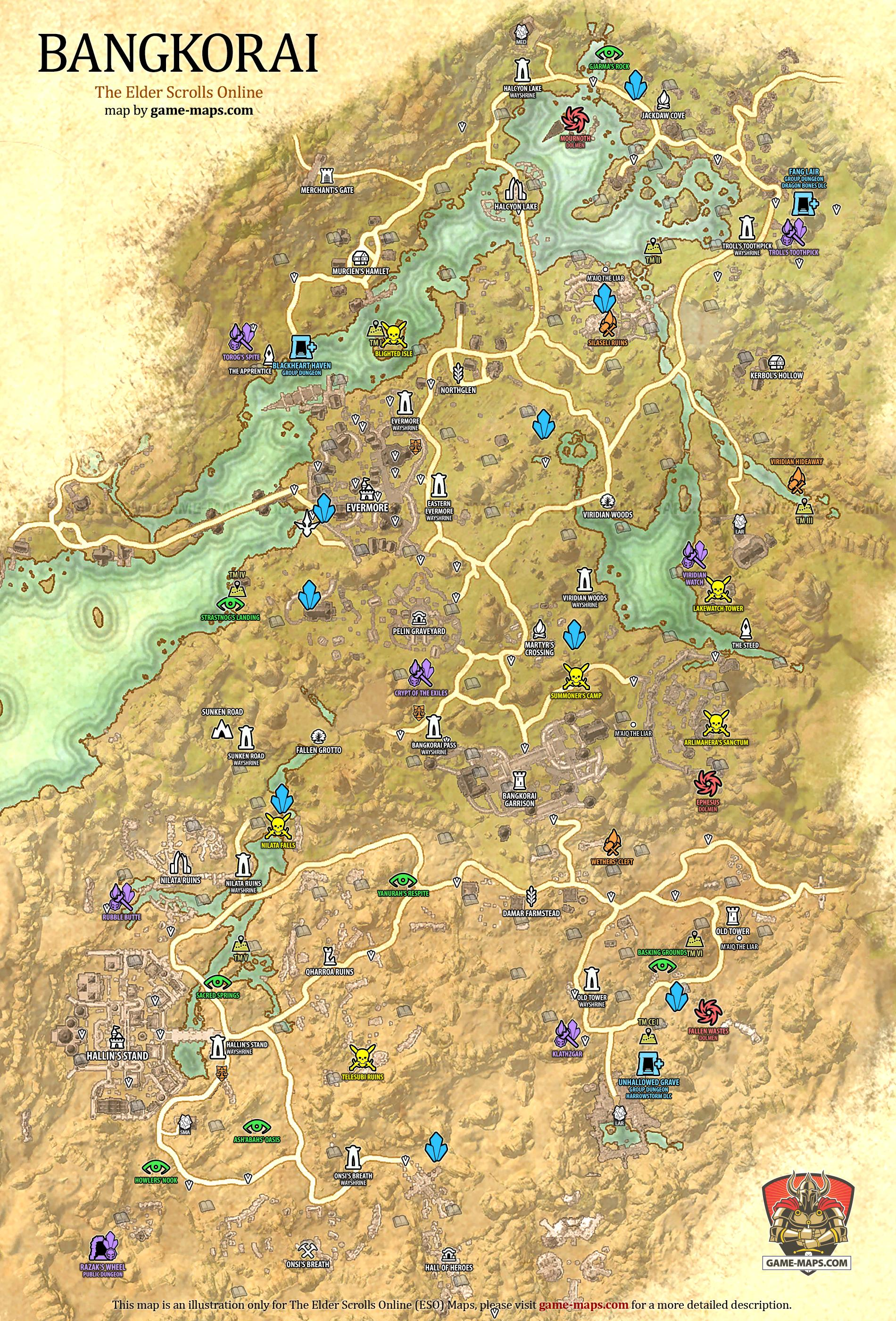 Bangkorai map the elder scrolls online game maps bangkorai zone map evermore and hallins stand the elder scrolls online eso maps guides walkthroughs gumiabroncs Choice Image