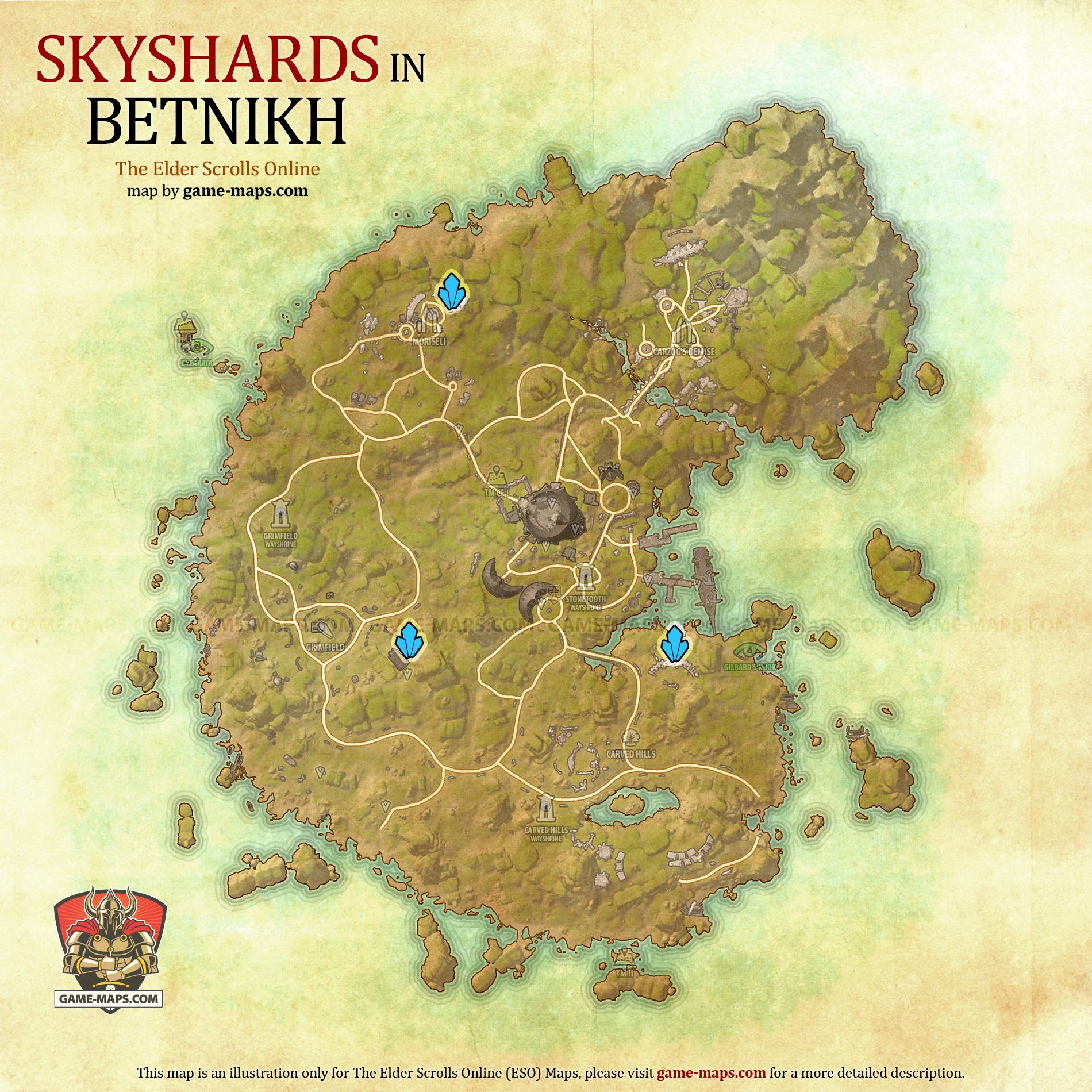 Betnikh Skyshards Location Map - ESO
