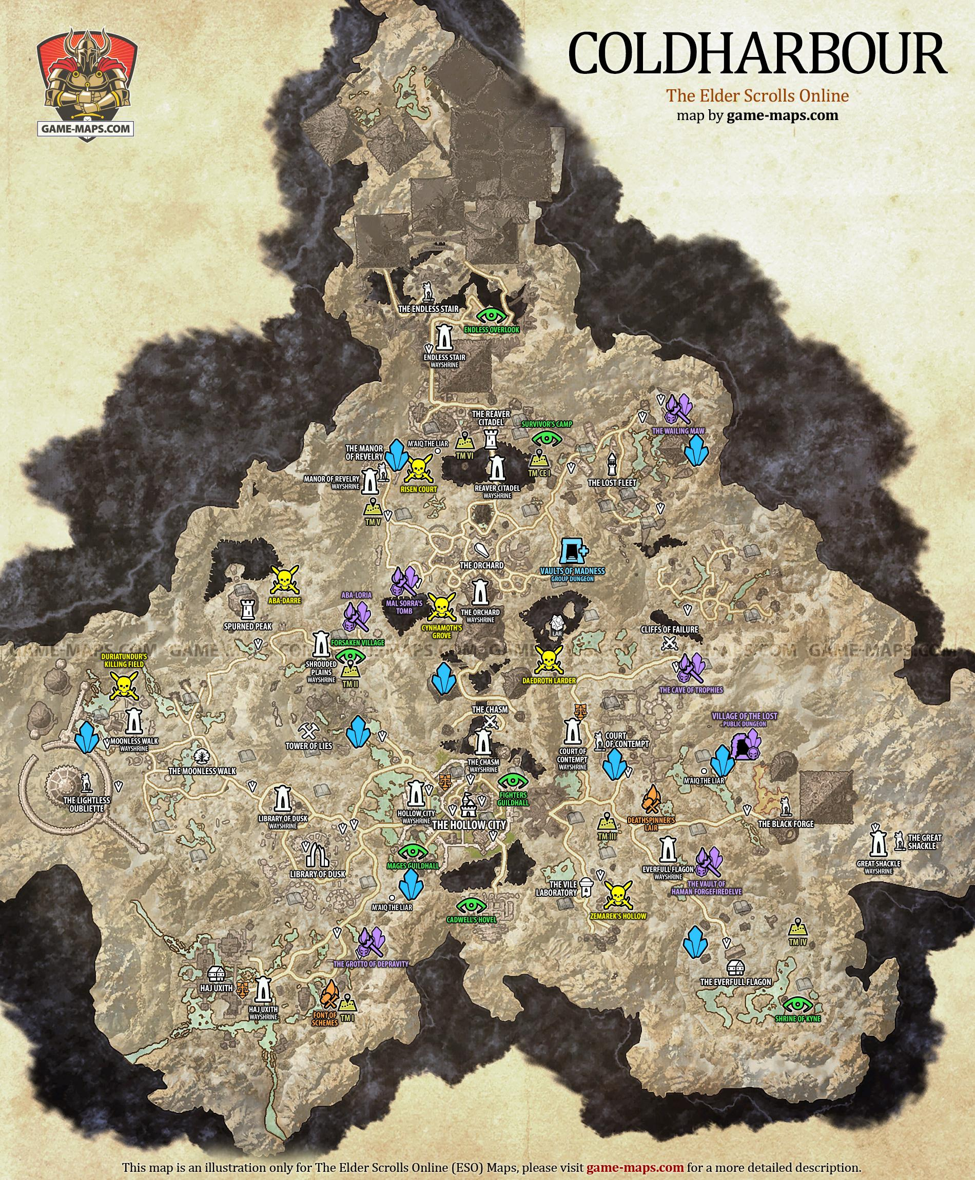 Coldharbour Map  The Elder Scrolls Online  gamemapscom