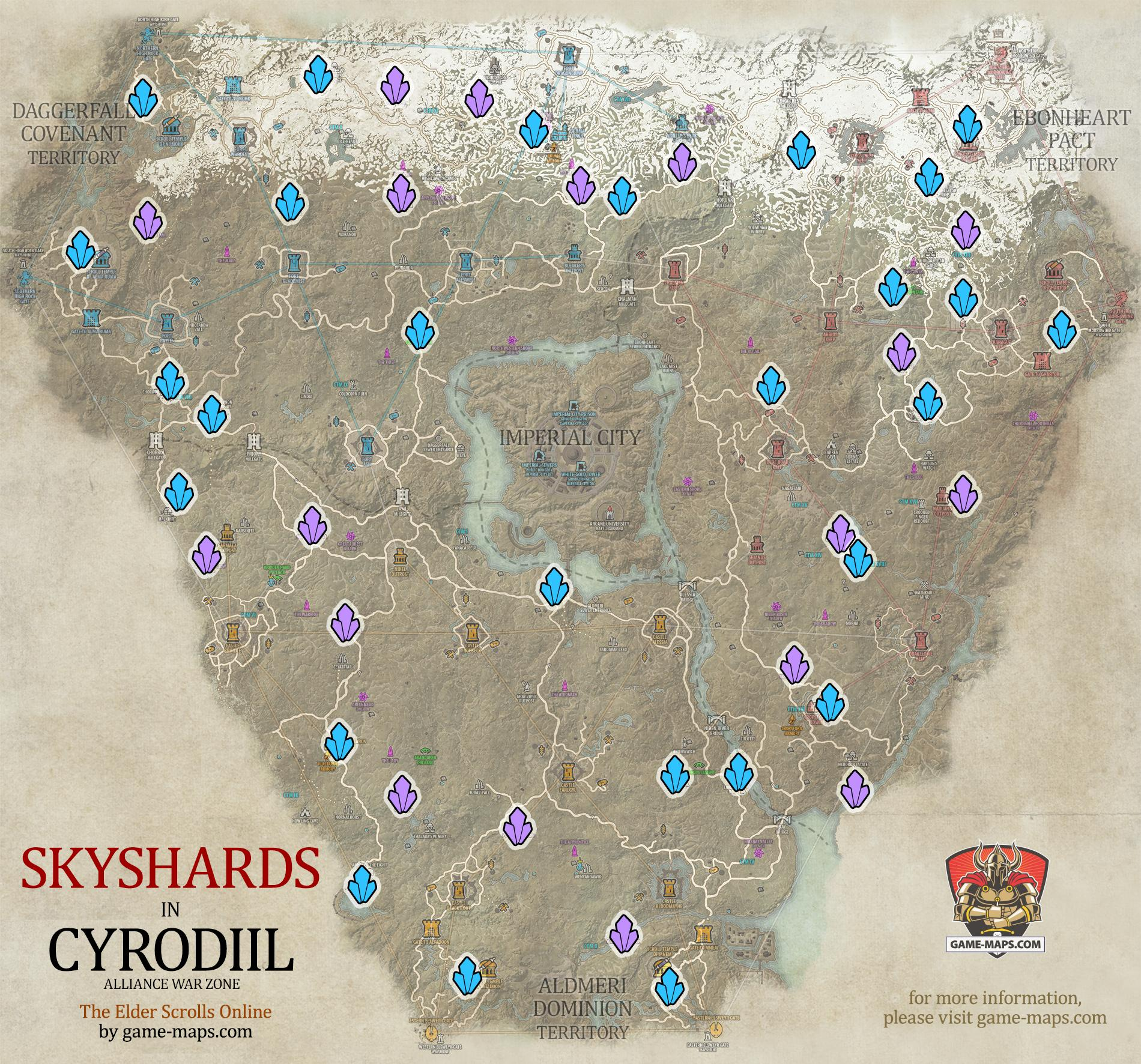 Cyrodiil Skyshards Location Map - ESO