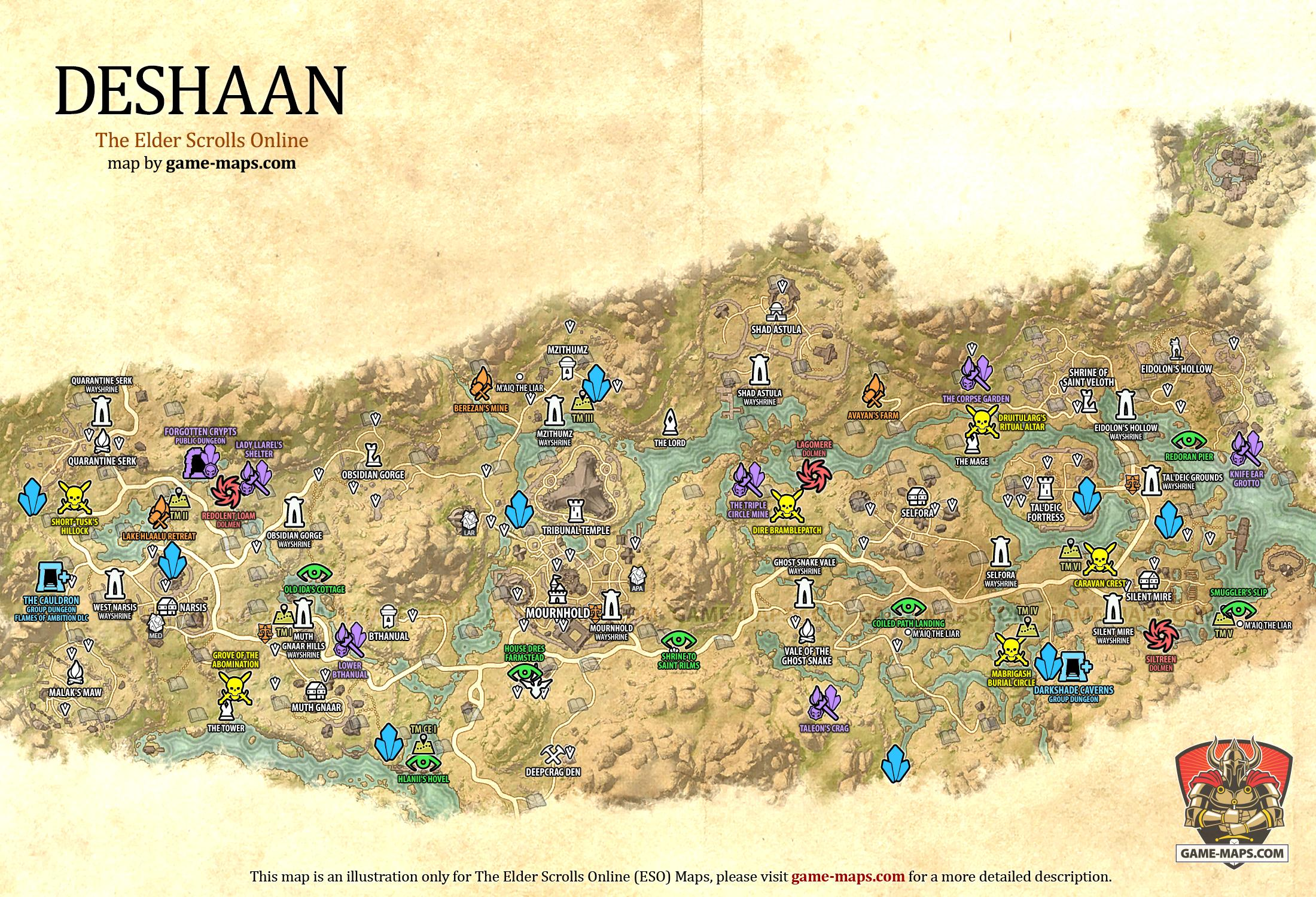 Deshaan Map - The Elder Scrolls Online | game-maps.com on