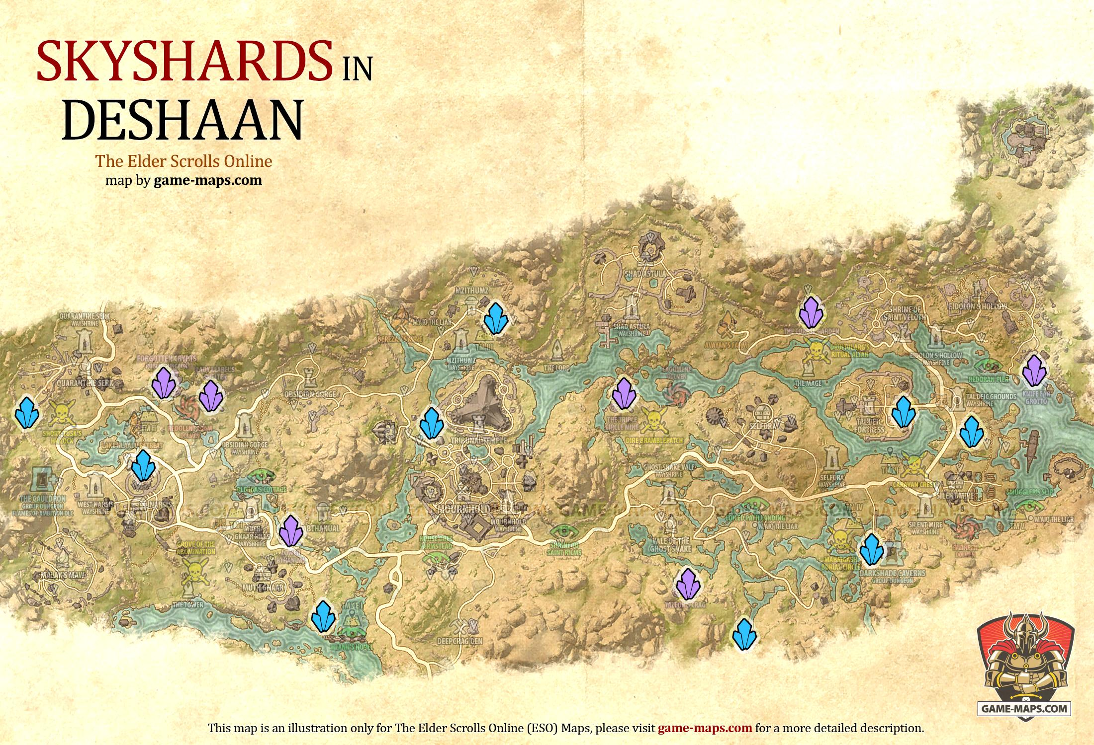 Deshaan Skyshards Location Map   ESO | game maps.com