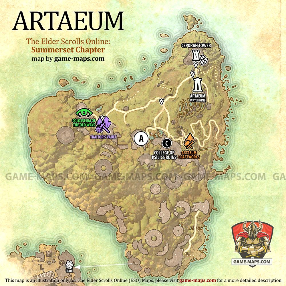 Artaeum Map - ESO Summerset - The Elder Scrolls Online | game-maps.com