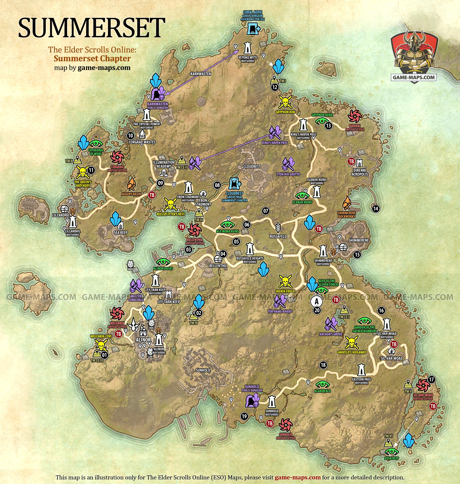 Summerset Map ESO Summerset The Elder Scrolls line