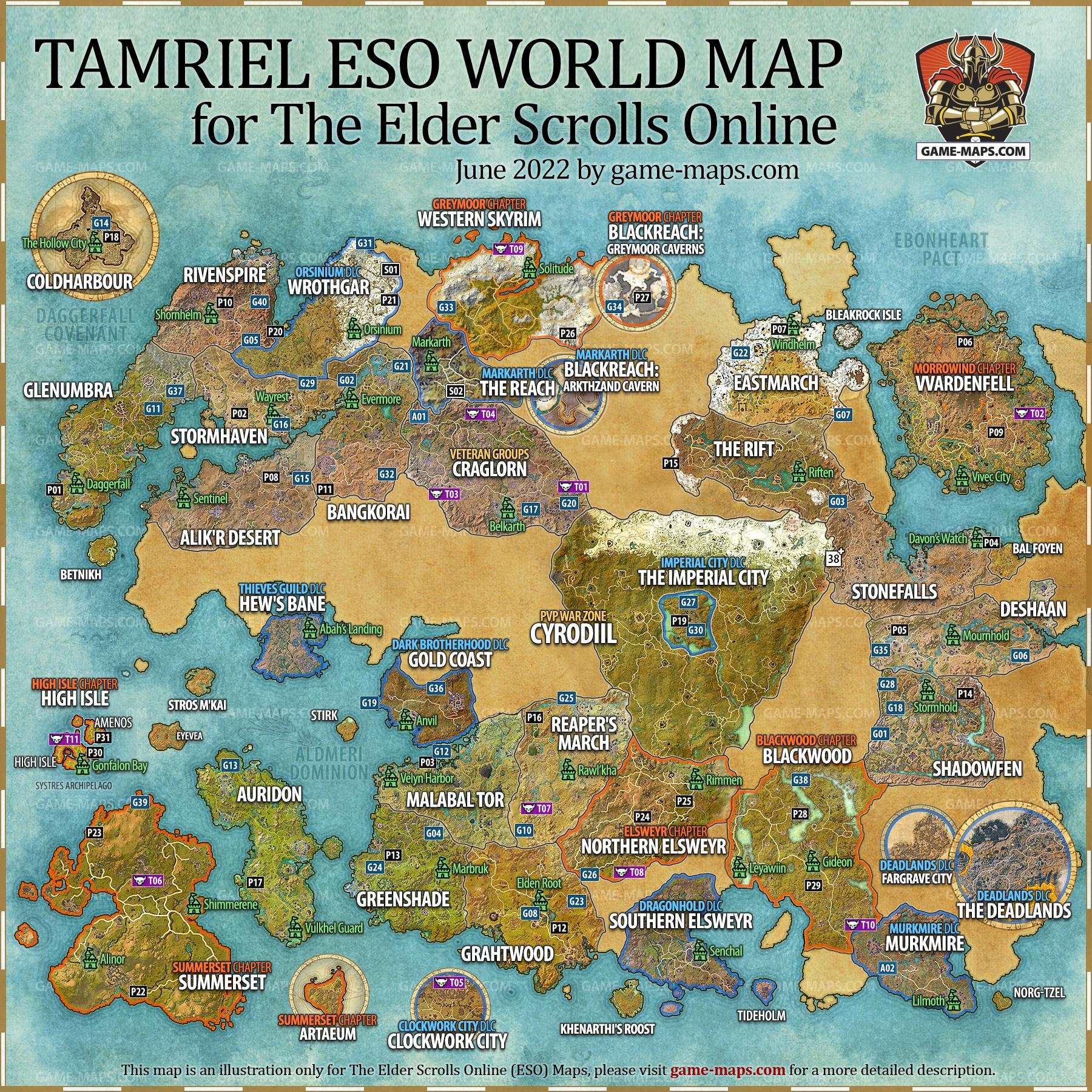 Eso maps the elder scrolls online walkthrough game guide game world map of tamriel for the elder scrolls online eso video game gumiabroncs Choice Image