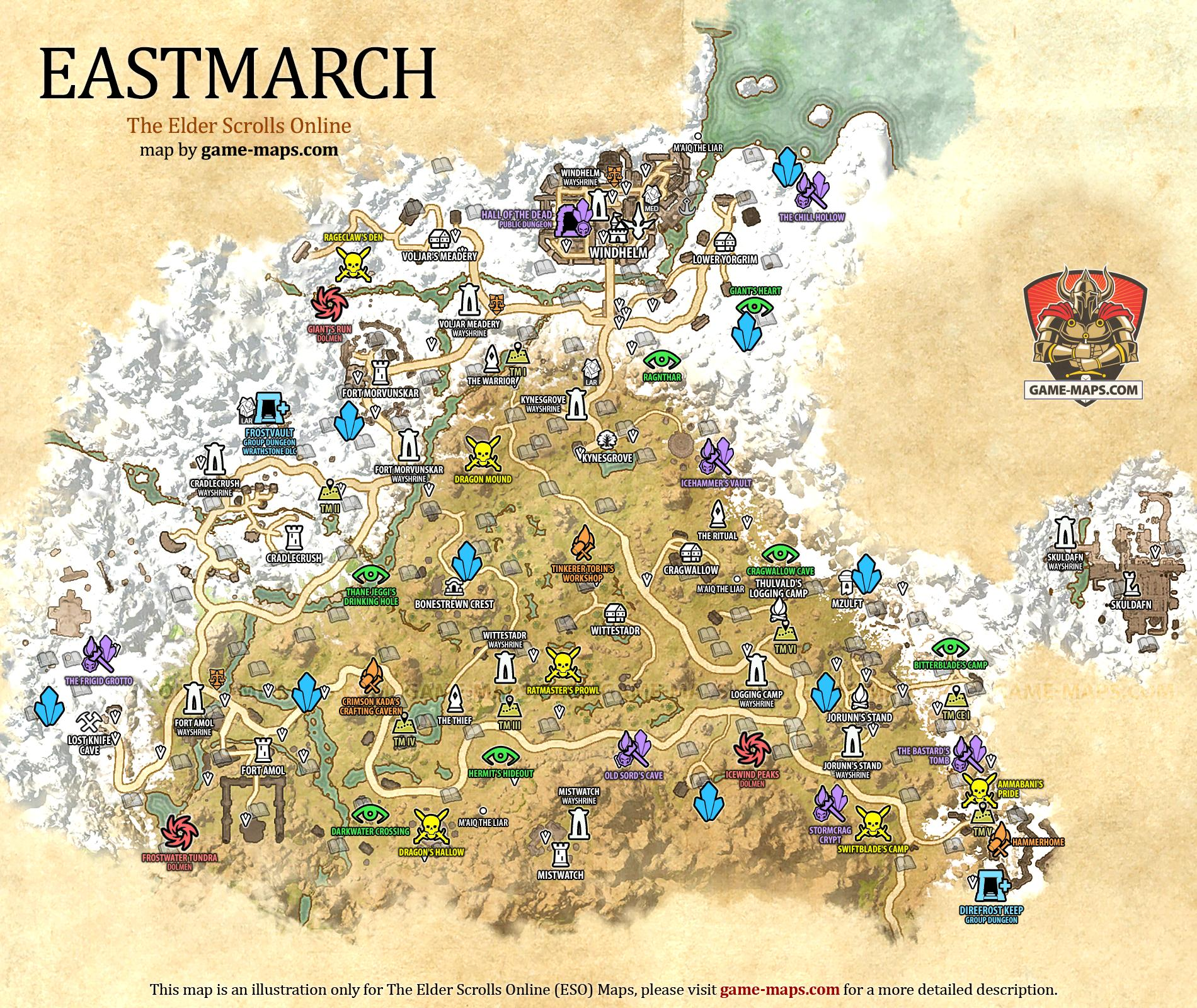 Eastmarch Map - The Elder Scrolls Online | game-maps.com