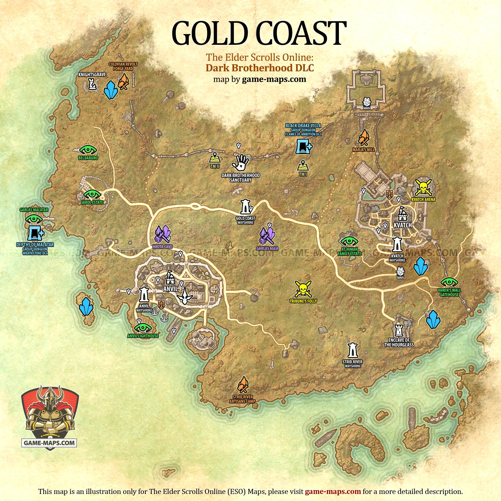 Gold Coast Map - The Elder Scrolls Online | game-maps.com