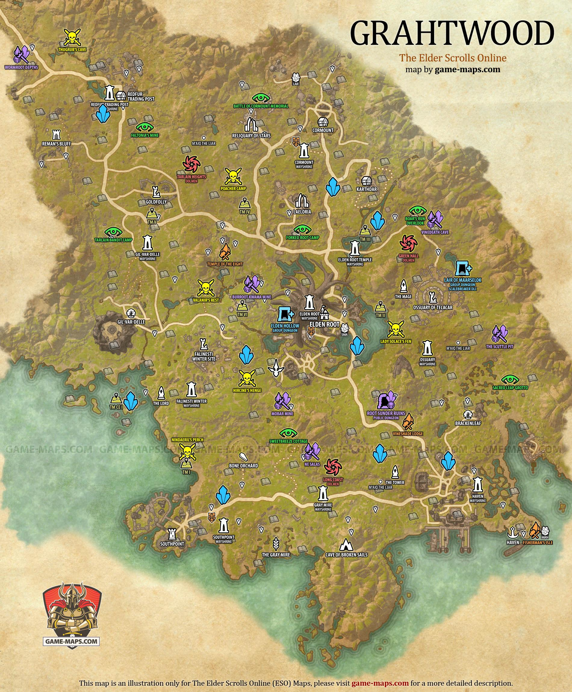 Grahtwood Map - The Elder Scrolls Online | game-maps.com
