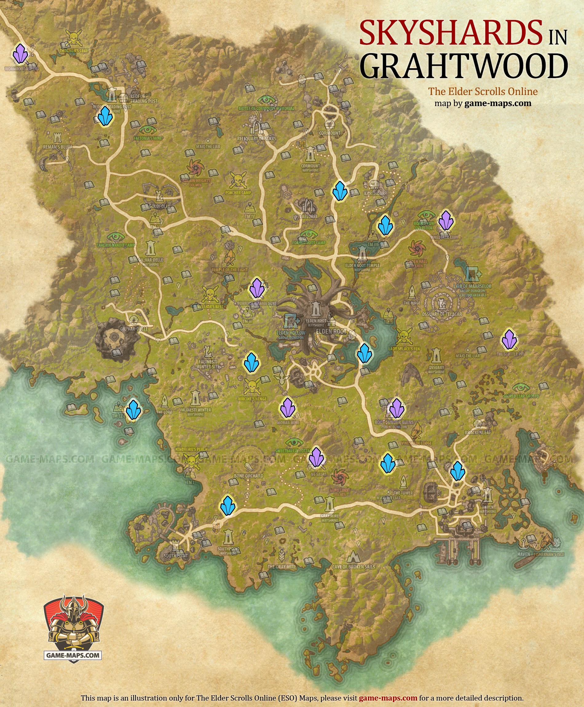 Grahtwood Skyshards Location Map - ESO