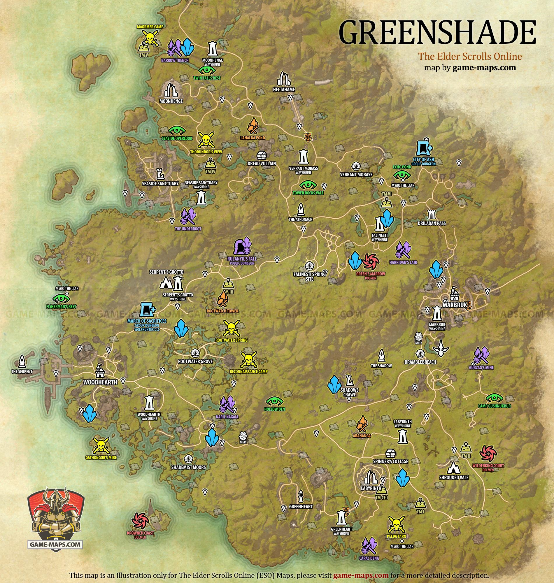 zona de leveo en Aldmeri Dominion Greenshade-Map