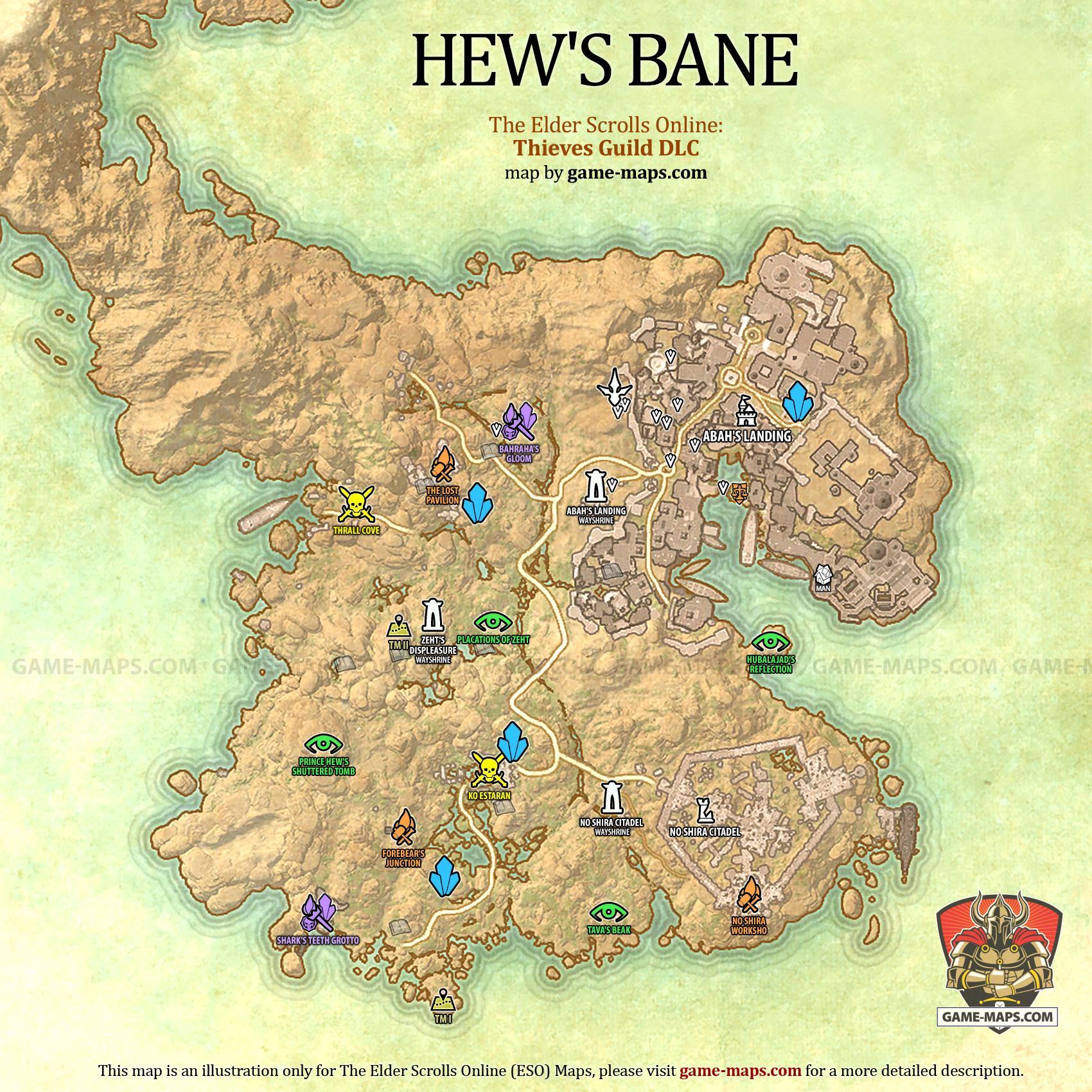 Hew\'s Bane Map - The Elder Scrolls Online | game-maps.com