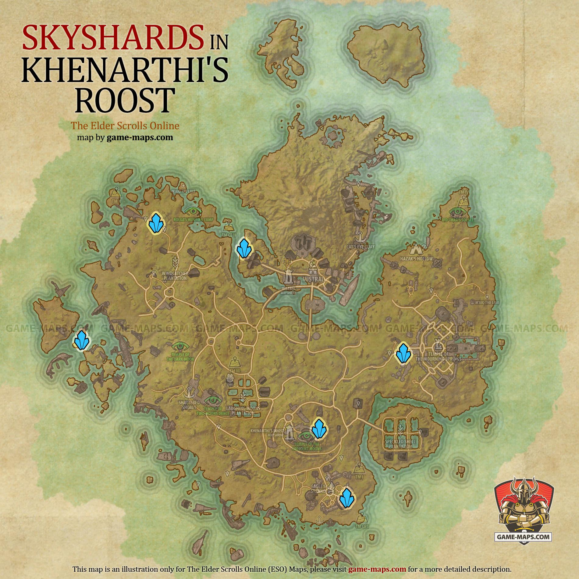 Khenarthi's Roost Skyshards Location Map - ESO