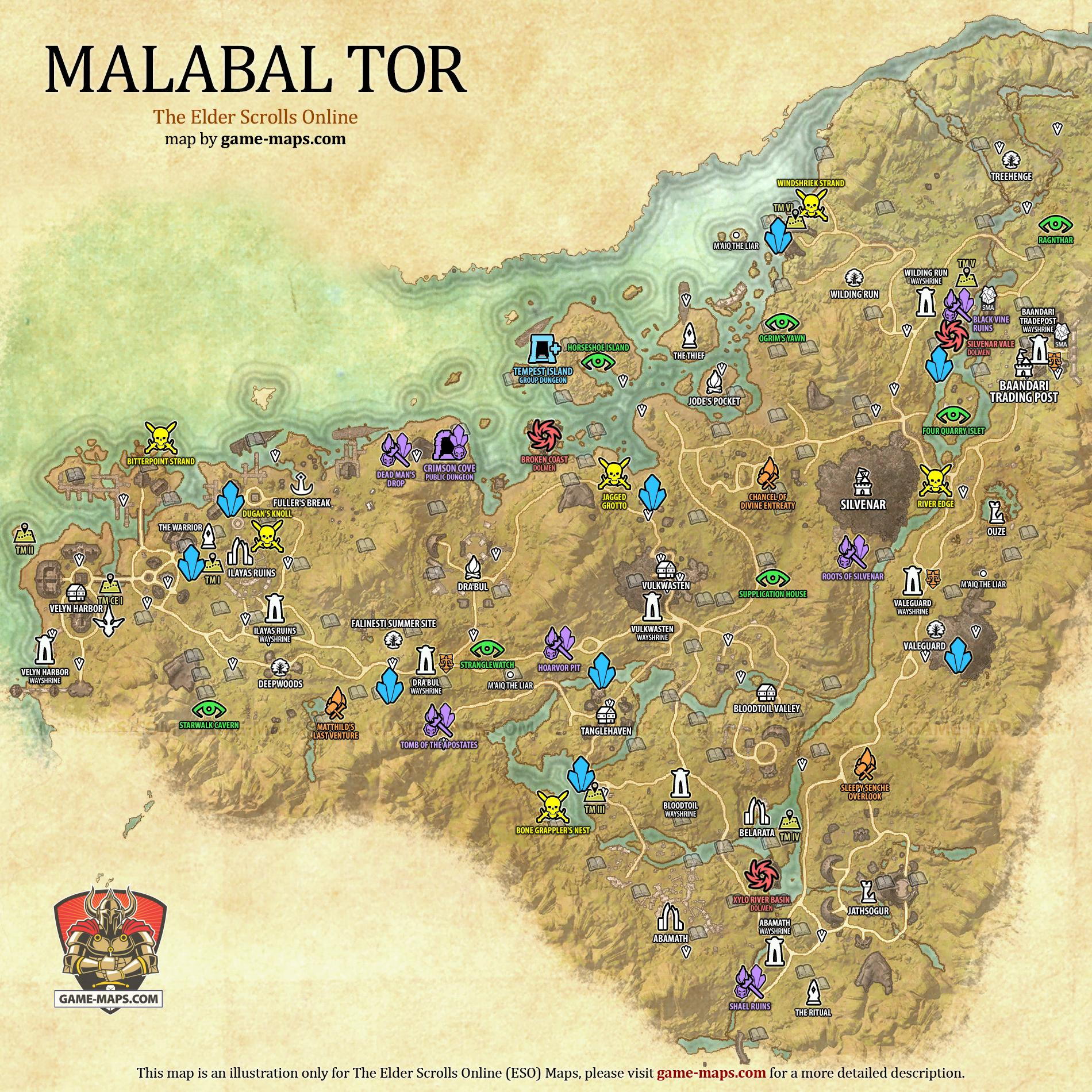 Malabal Tor Map - The Elder Scrolls Online | game-maps.com