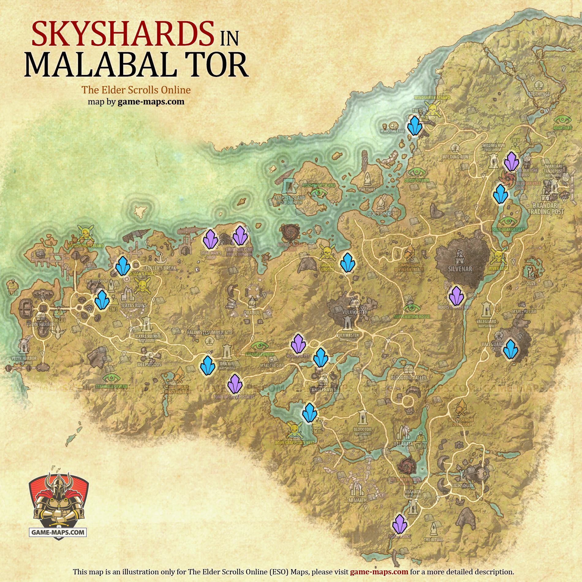Malabal Tor Skyshards Location Map Eso Game Maps Com