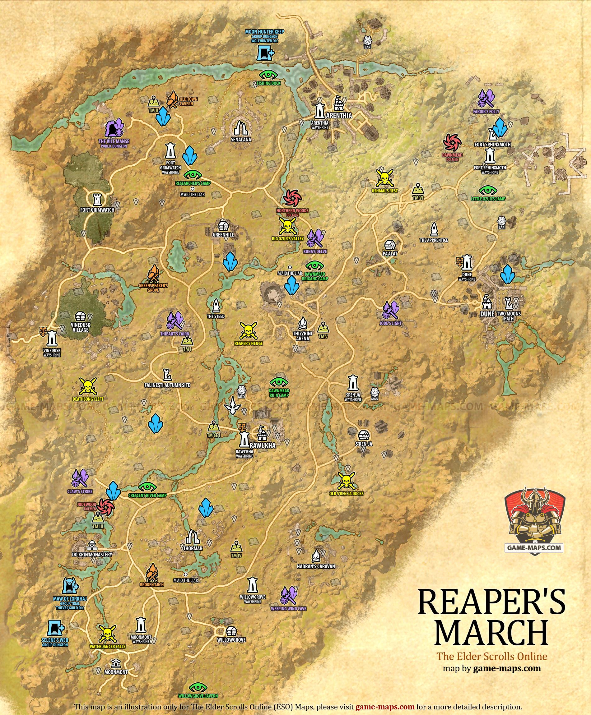 reapers march zone map arenthia dune the elder scrolls online eso maps guides walkthroughs