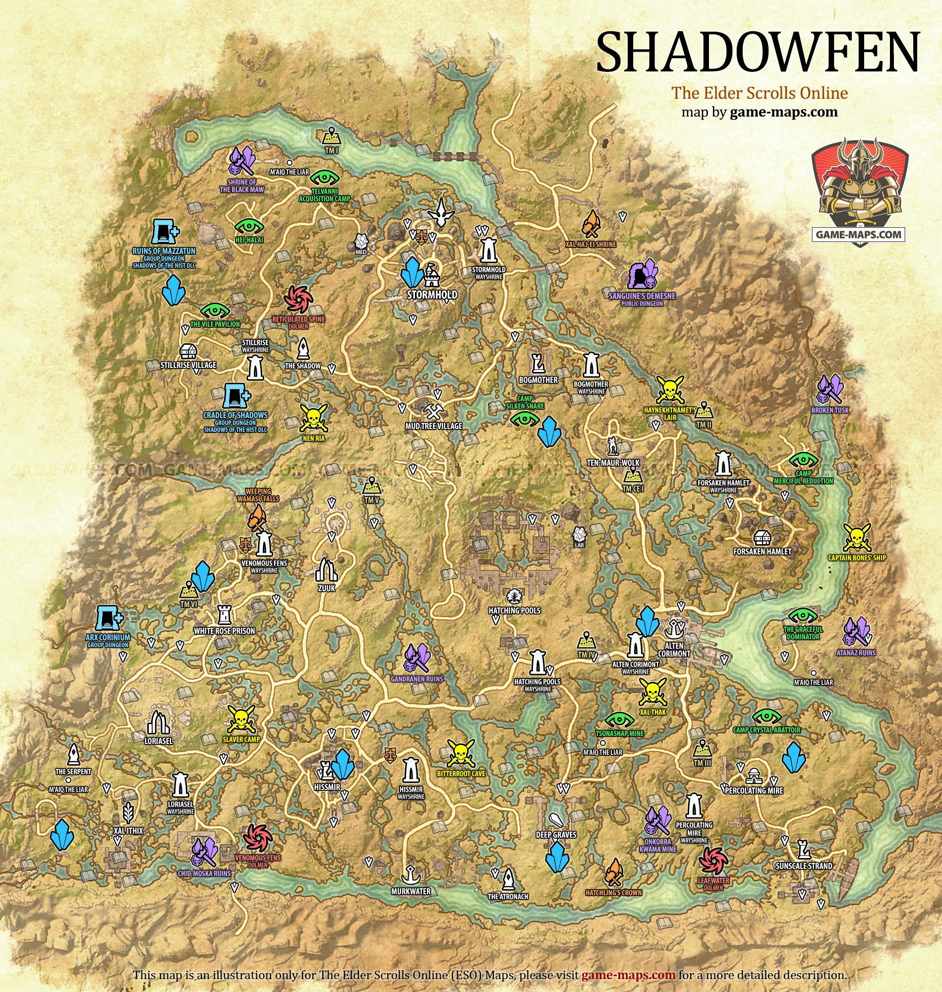 Shadowfen Map The Elder Scrolls Online game