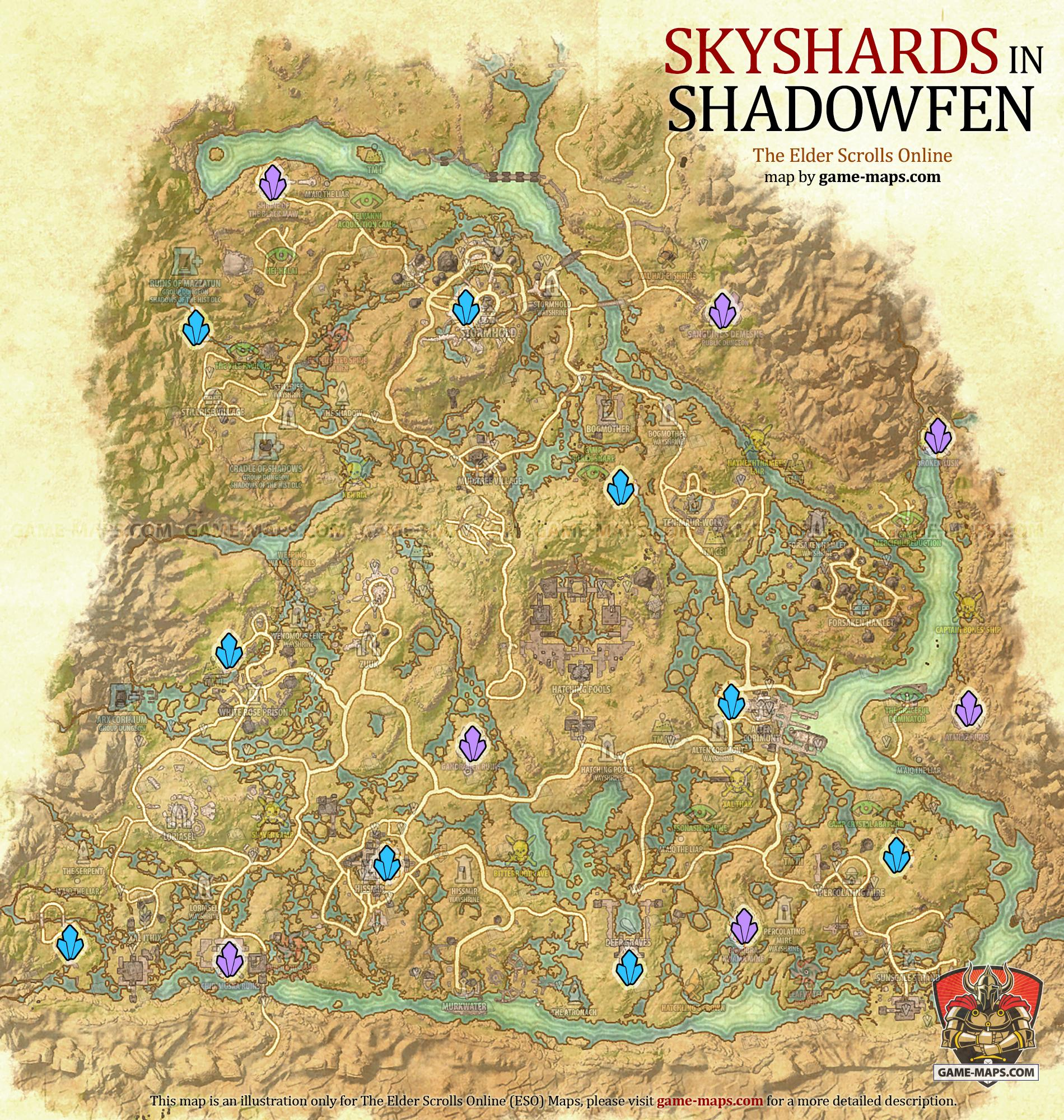 Shadowfen Skyshards Location Map - ESO