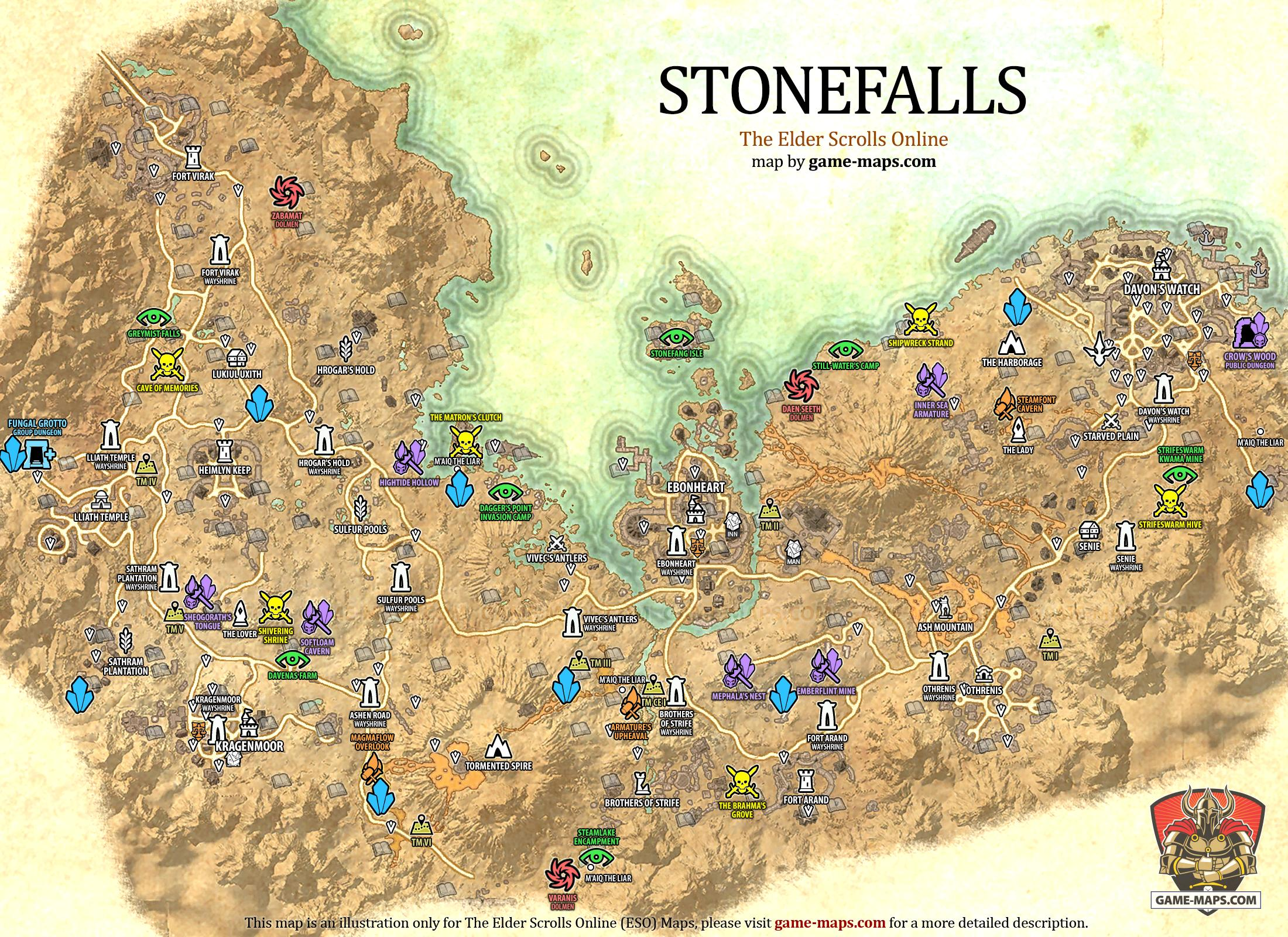 Stonefalls Map   The Elder Scrolls Online | game maps.com