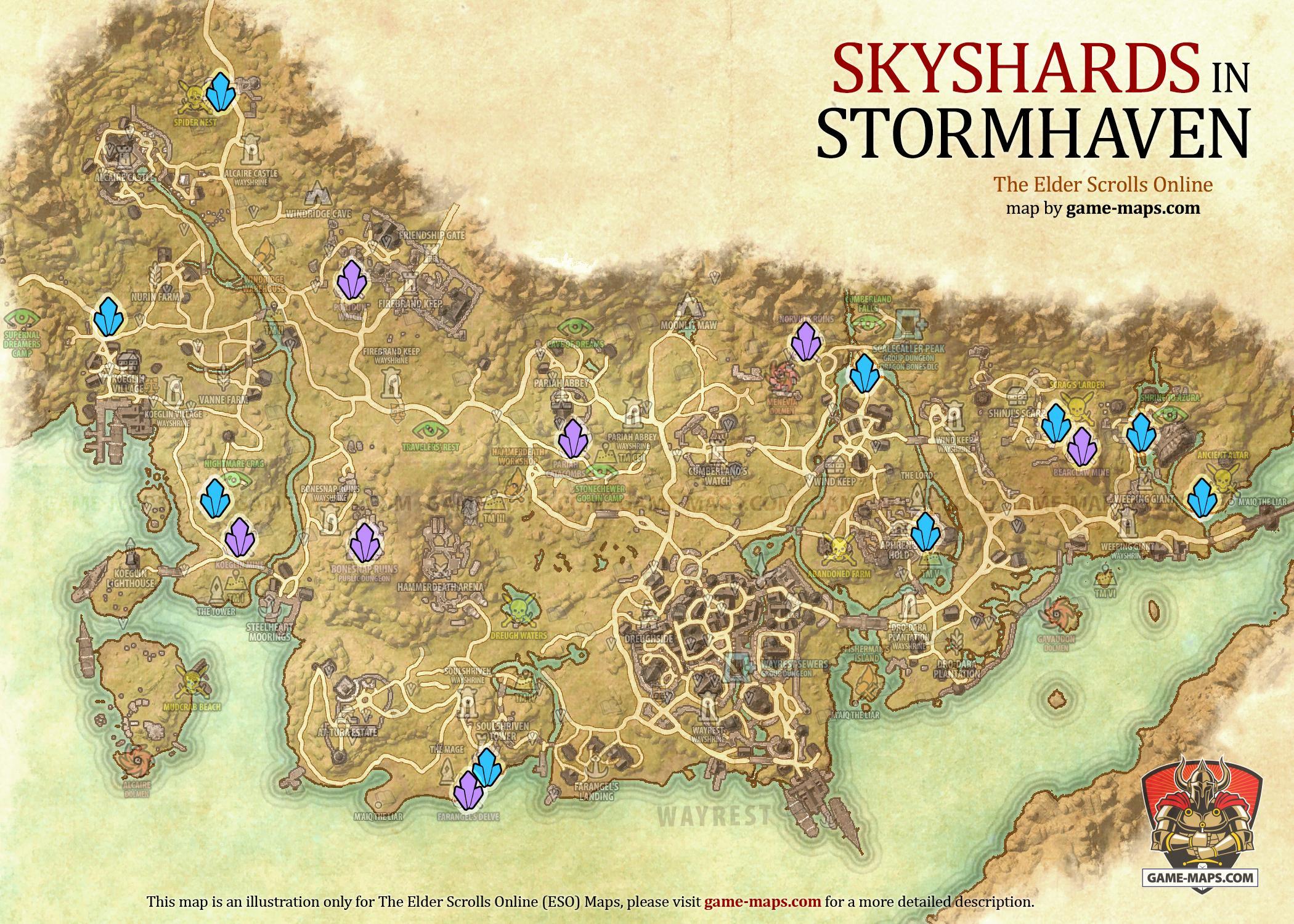 Stormhaven Skyshards Location Map ESO game