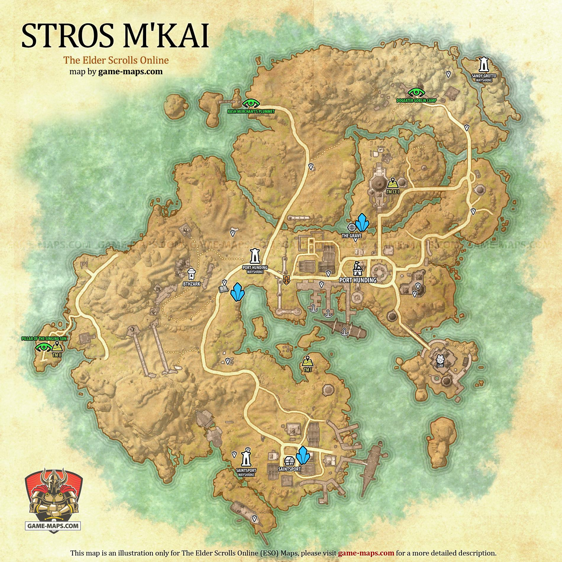 Eso Interactive Map Stros M'Kai Map   The Elder Scrolls Online | game maps.com