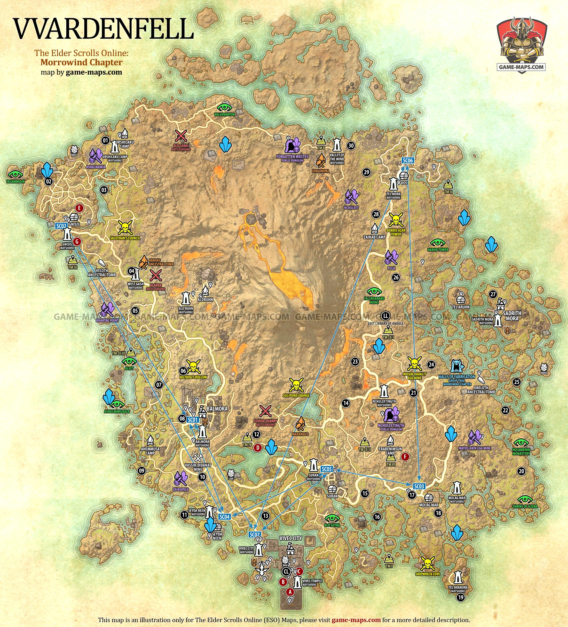 Vvardenfell map eso morrowind the elder scrolls online game vvardenfell zone map the elder scrolls online morrowind eso maps guides walkthroughs gumiabroncs Choice Image