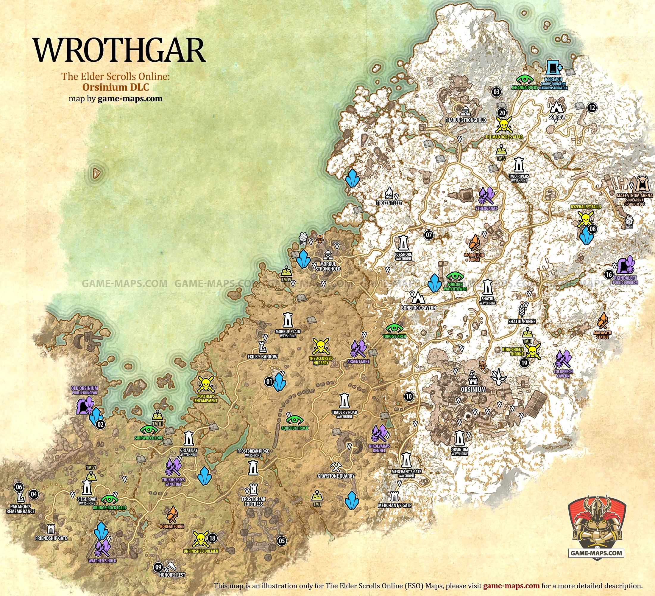 Wrothgar Map - The Elder Scrolls Online | game-maps.com
