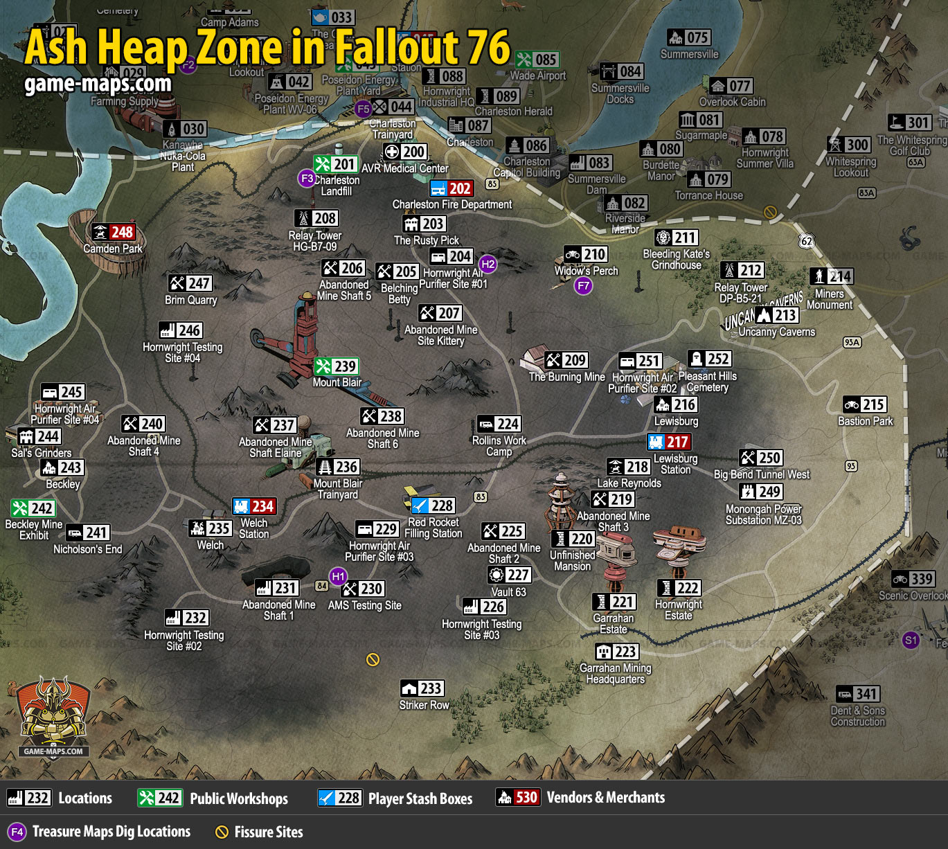 Ash Heap Map for Fallout 76 | game-maps com