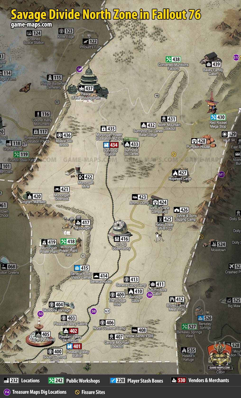 Savage Divide North Map for Fallout 76   game-maps.com