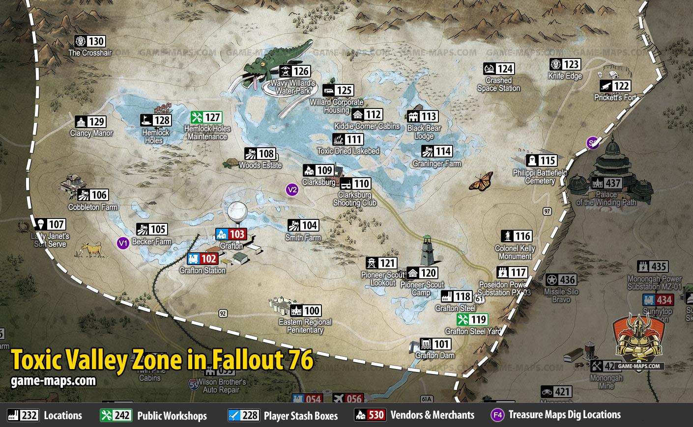 Toxic Valley Map for Fallout 76 | game-maps com