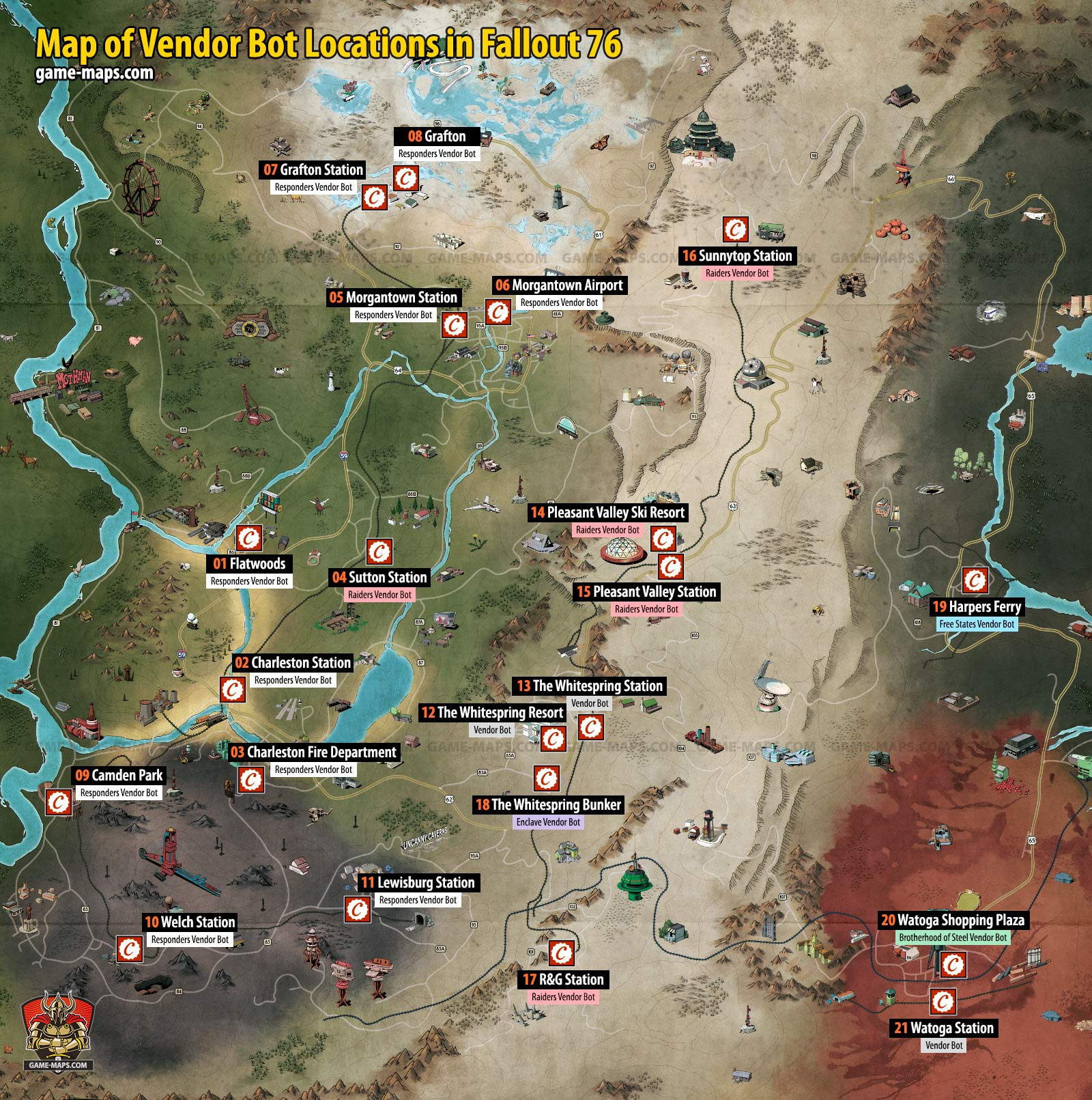 Vendor and Merchant Locations Map in Fallout 76   game-maps.com on