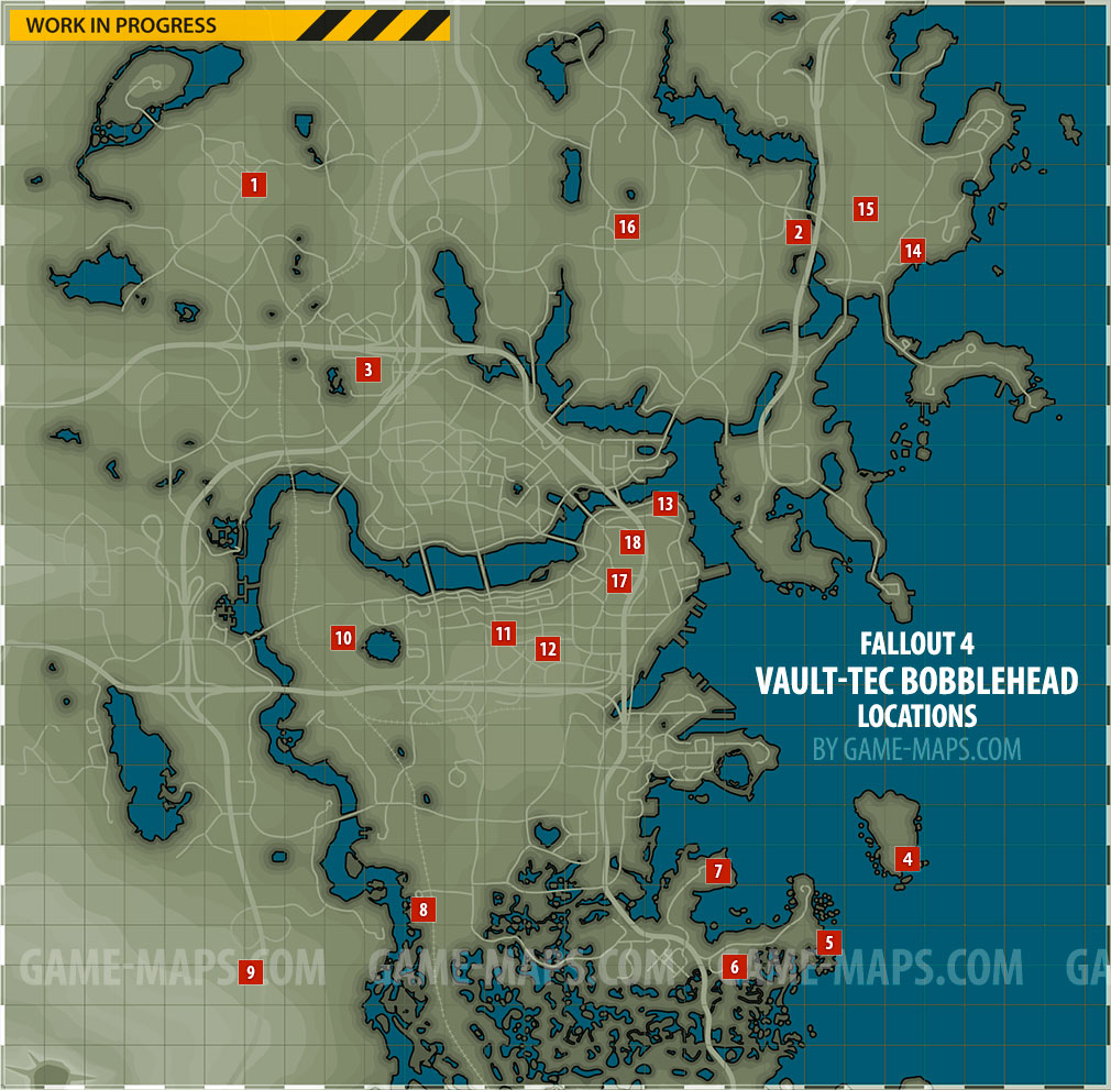 image about Fallout 4 Printable Map referred to as Vault-Tec Bobblehead Places Map Fallout 4
