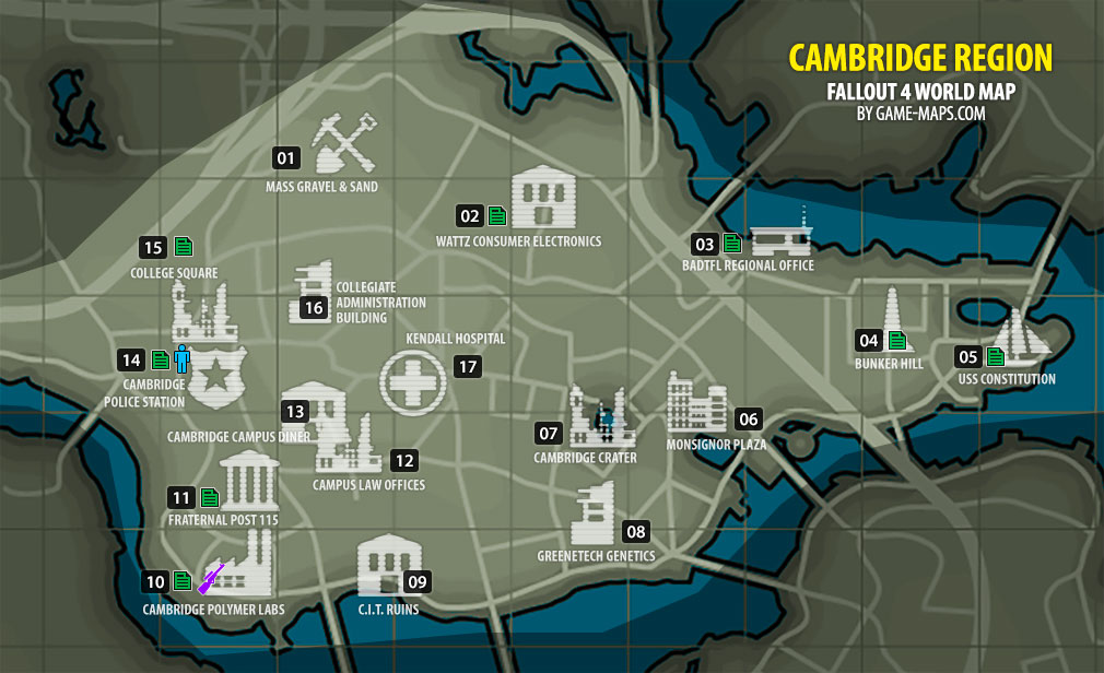 Cambridge Region Map Fallout - Where is cambridge
