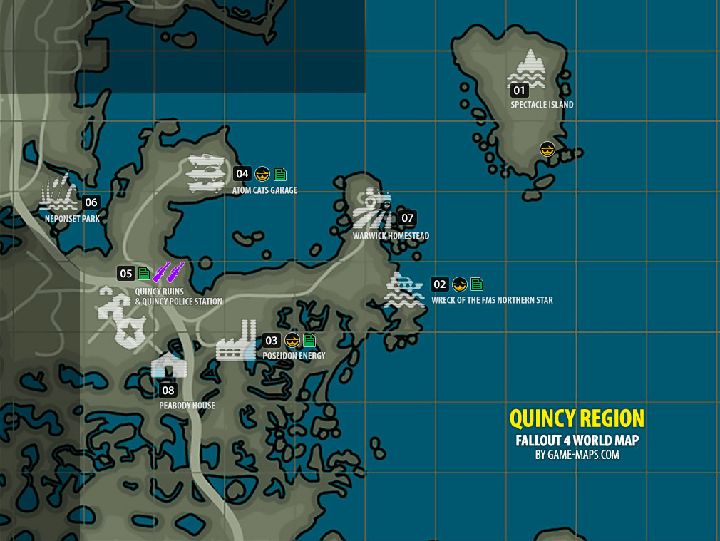 Quincy Region Map Fallout - Fallout game map of us