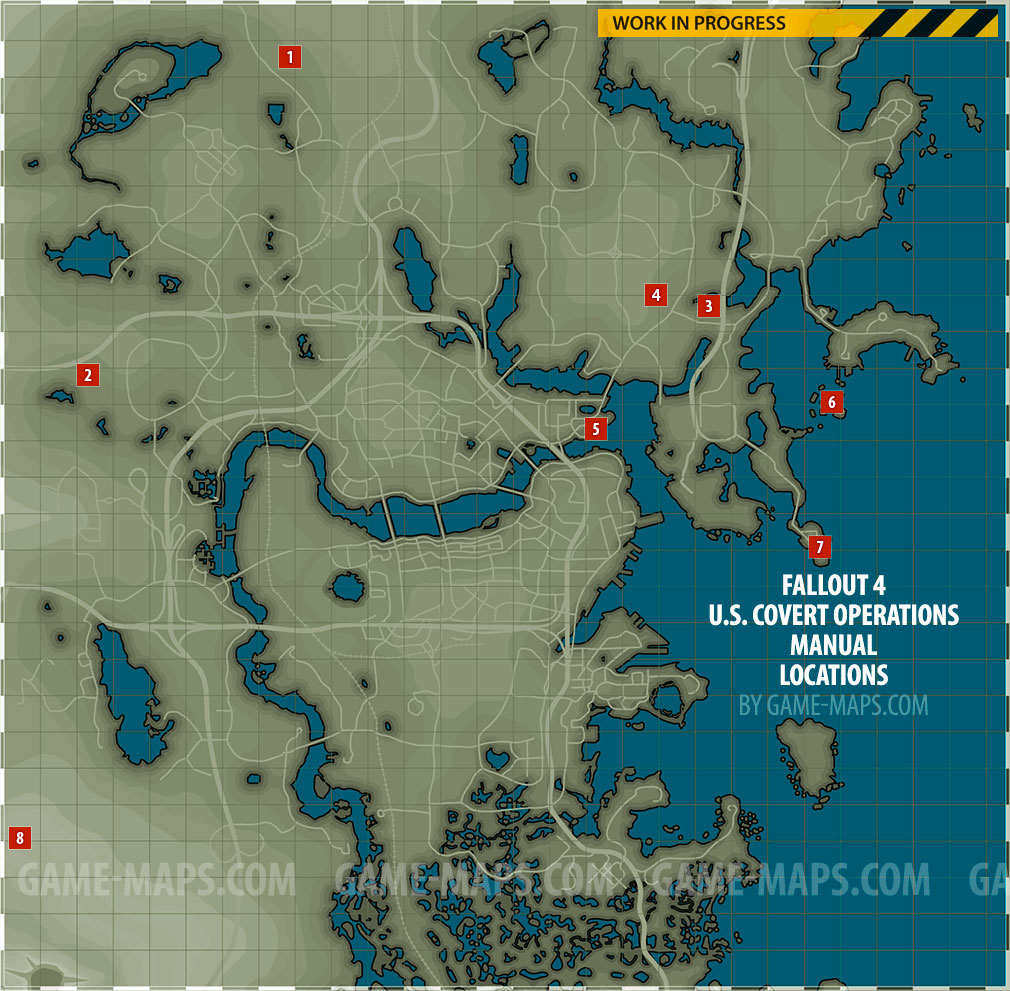 US Covert Operations Manual Magazines Locations Map Fallout - Fallout game map of us