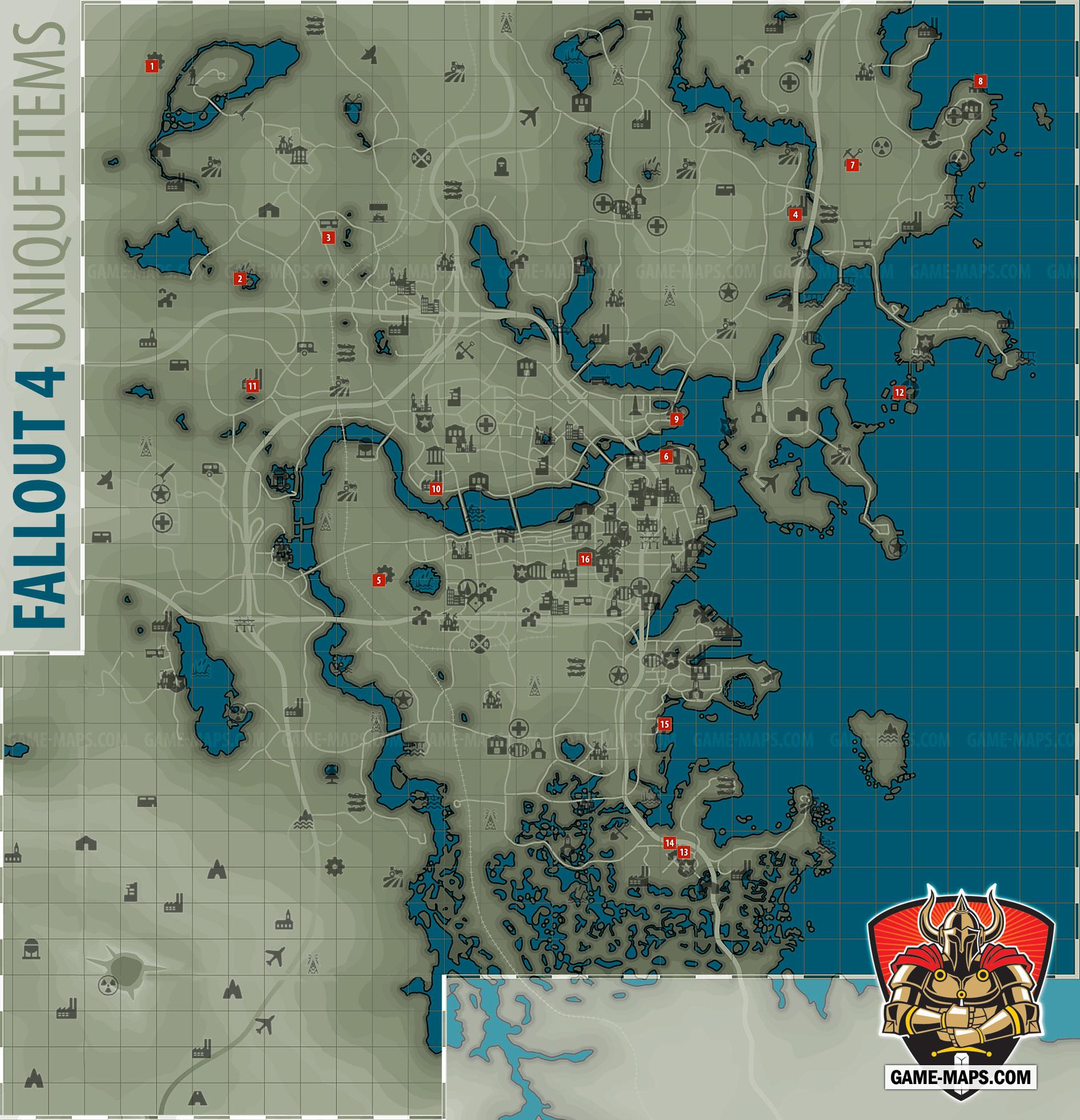 . fallout  unique items map