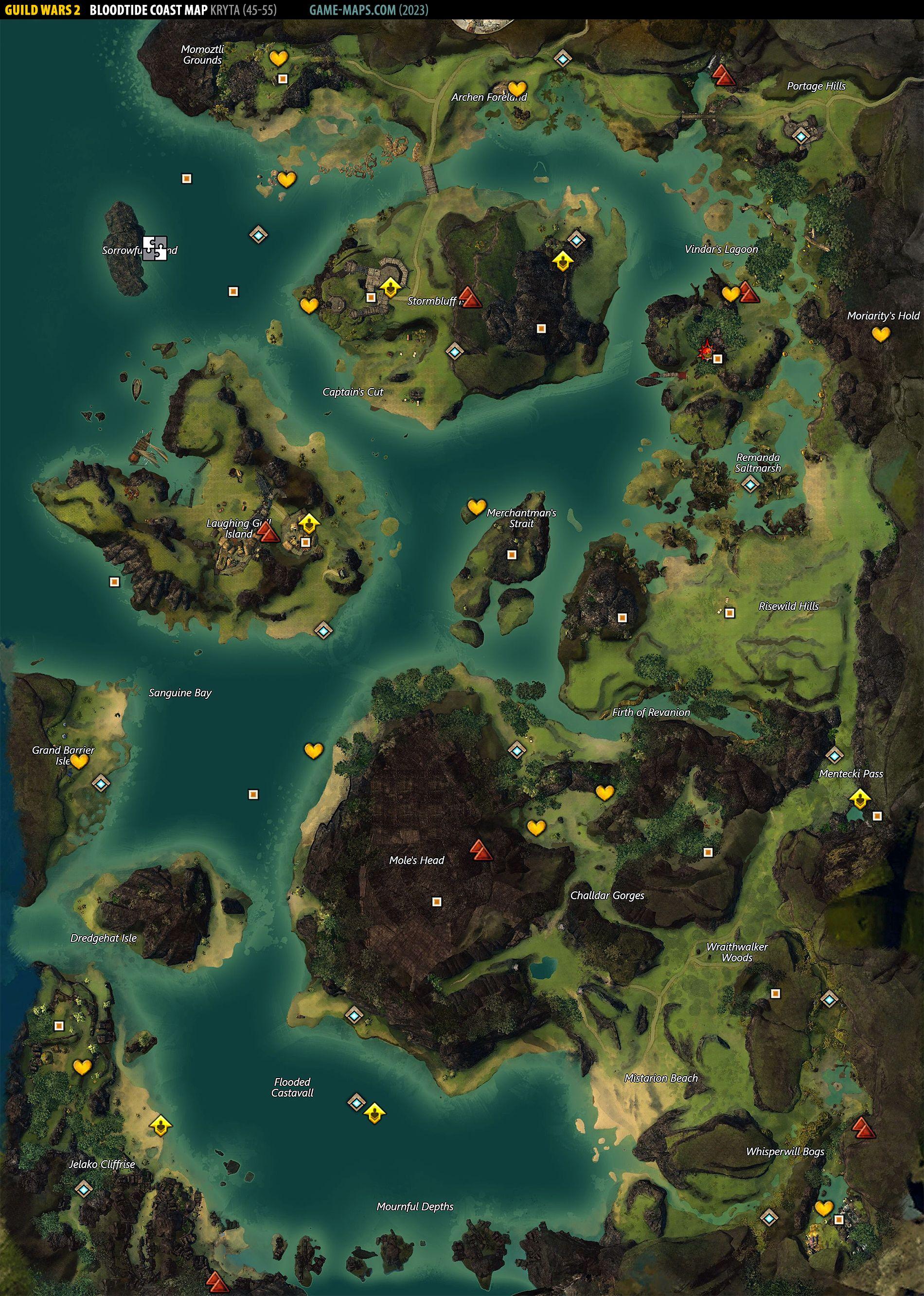 Bloodtide Coast Map   Guild Wars 2