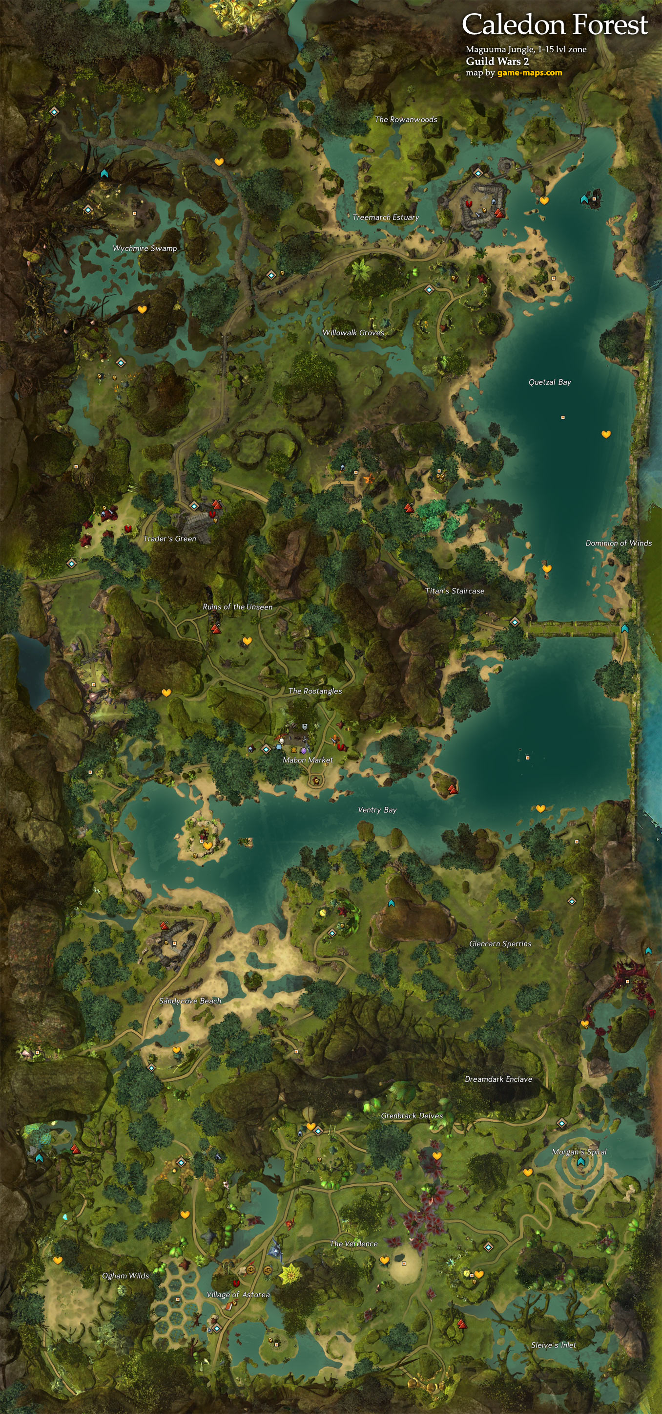 Caledon Forest Map Caledon Forest Map   Guild Wars 2 | game maps.com