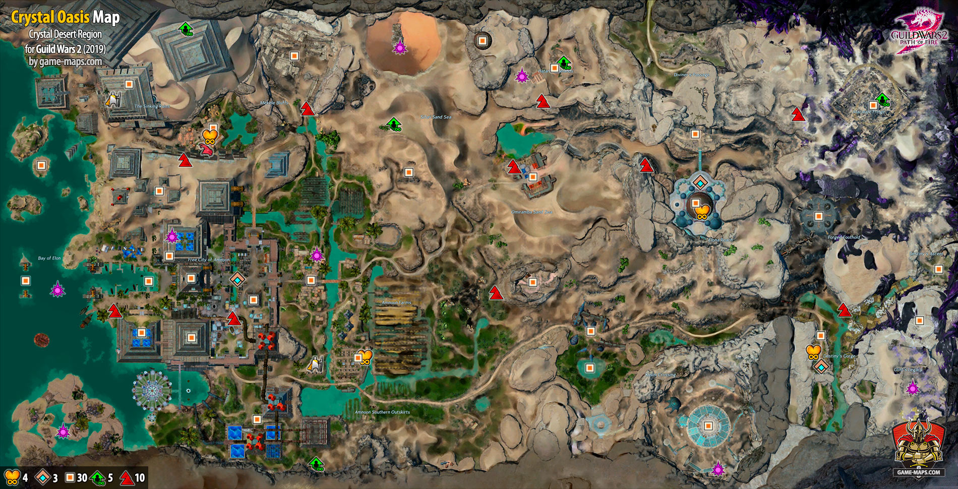 Guild Wars 2 Path Of Fire Map Crystal Oasis Map (2019)  Guild Wars 2 | game maps.com