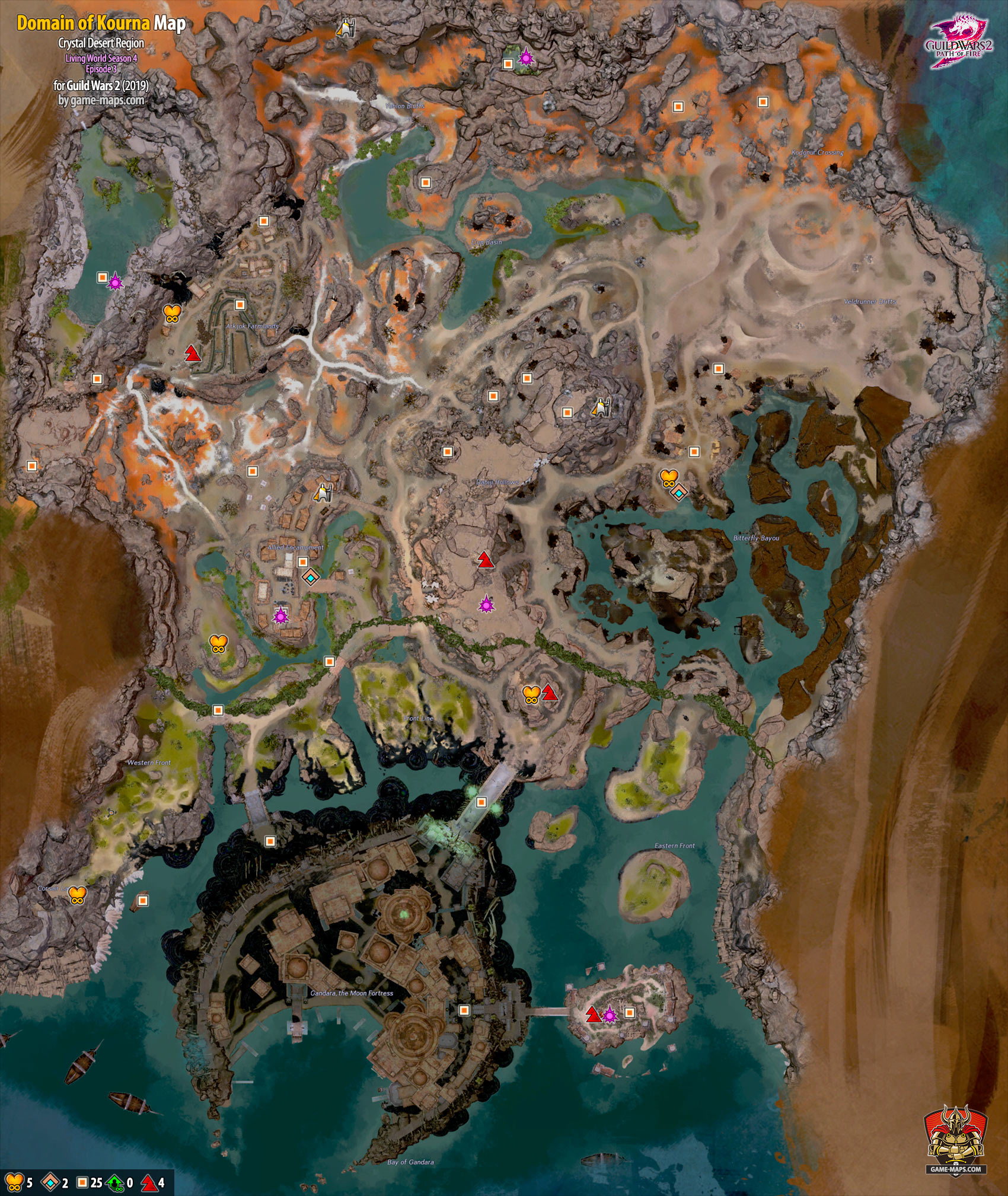 Domain of Kourna Map (2019)- Guild Wars 2 | game-maps com