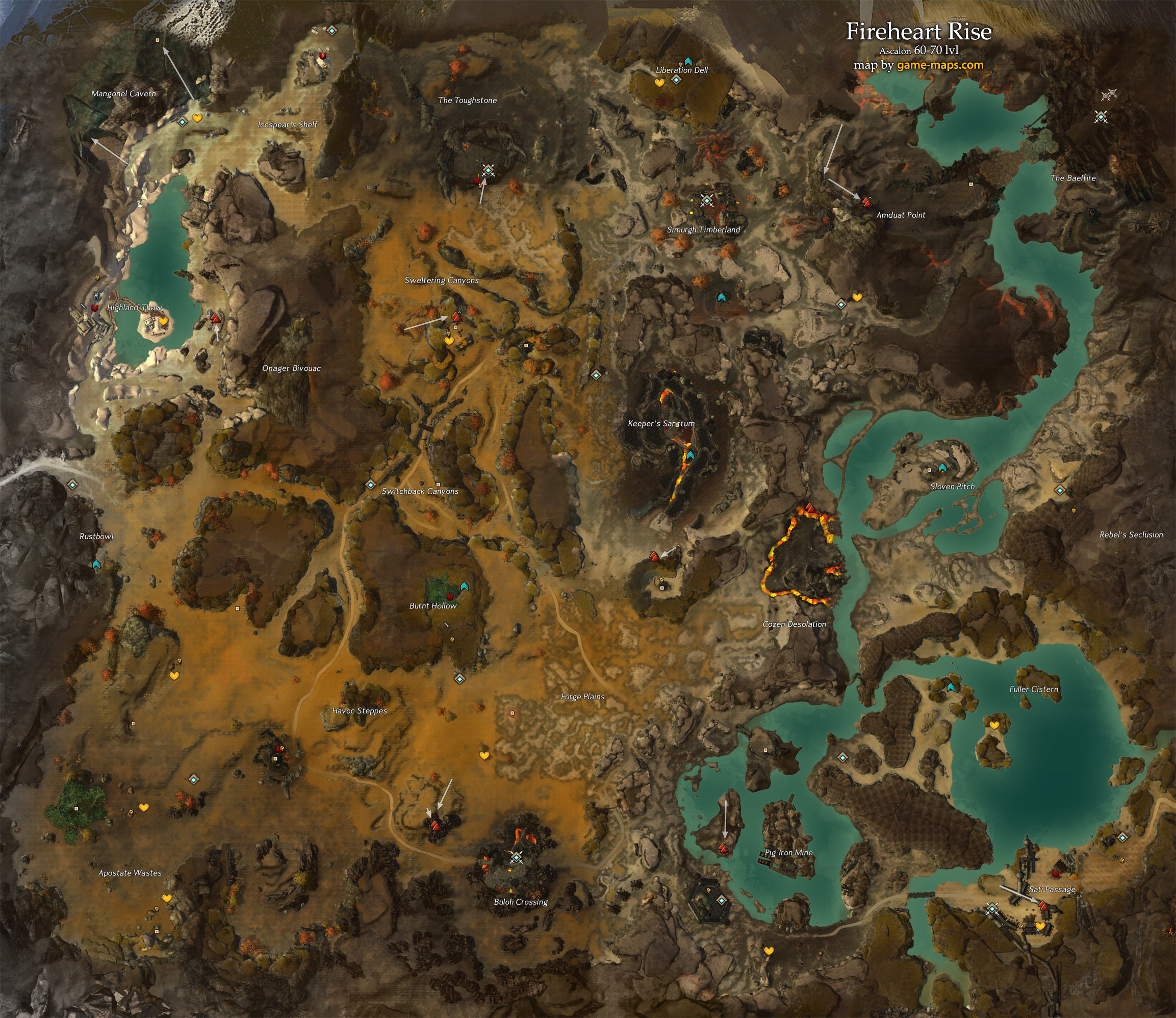 Fireheart rise map guild wars 2 map of fireheart rise map 60 70 lvl ascalon guild wars 2 gumiabroncs Image collections
