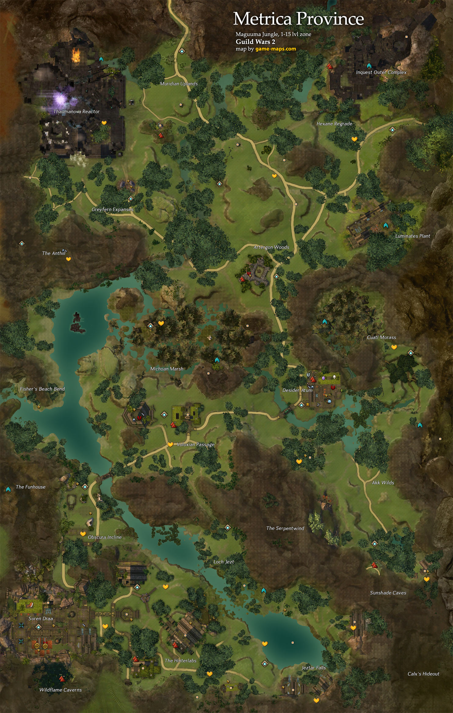 Metrica Province Map Guild Wars 2 Game Mapscom