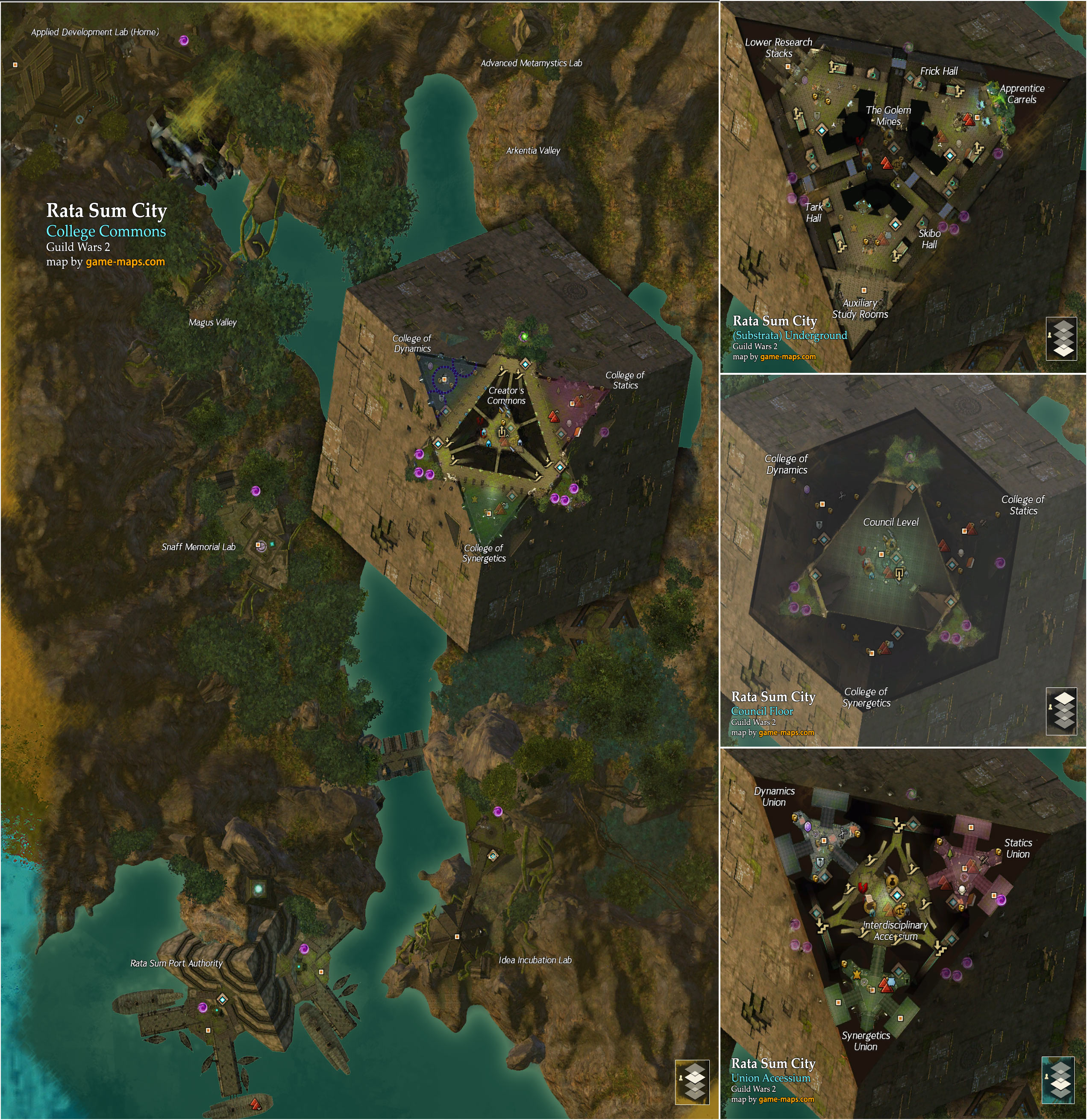 Guild Wars 1 World Map.Rata Sum City Map Guild Wars 2 Game Maps Com